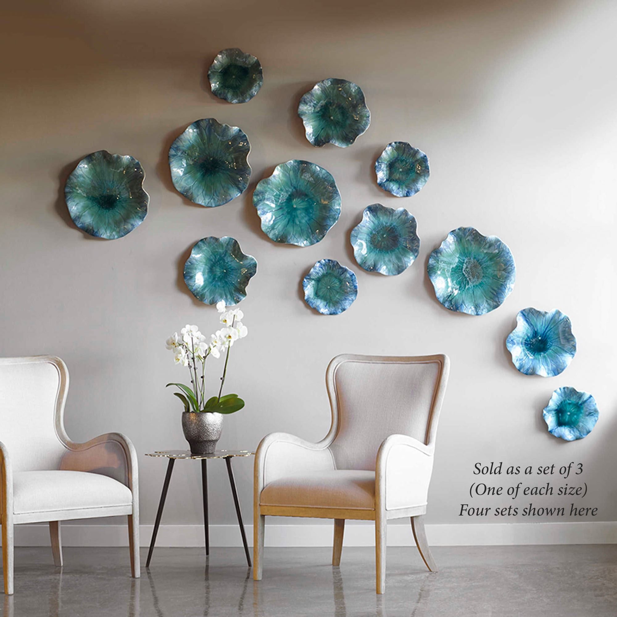 Abella Ceramic Abstract Flower Art Set For Wall Or Table