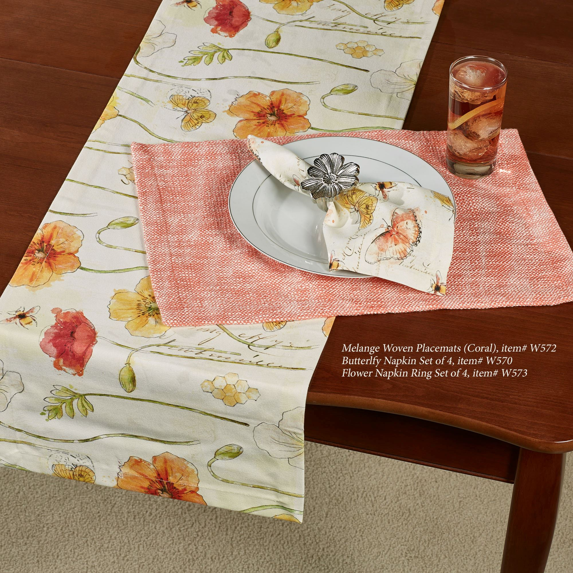 Poppies Floral Table Runner Multi Warm 14 x 72 & Poppies Floral Table Linens
