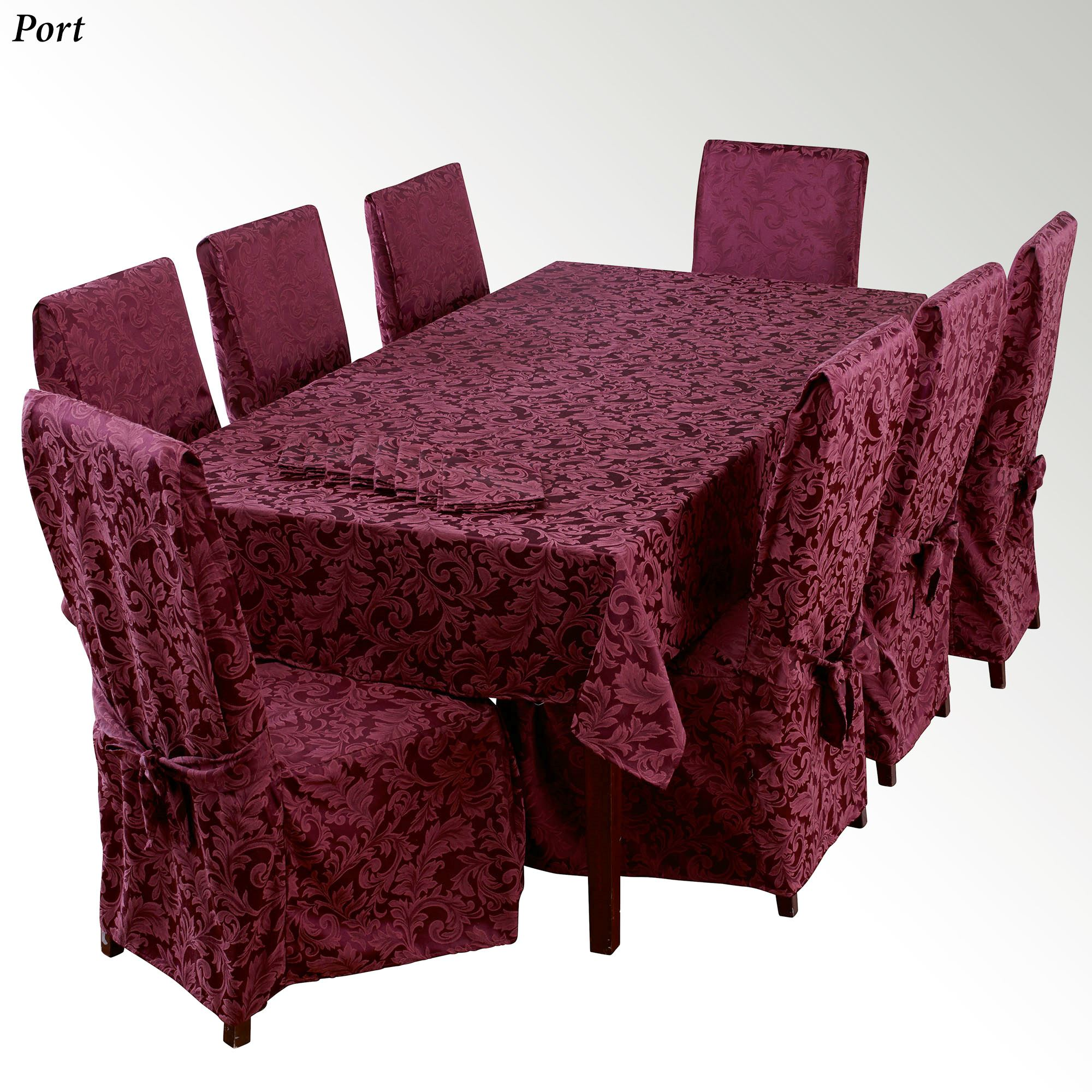 Dining Room Table Linens: Varese 13-17 Pc Damask Dining Room Table Linen Set