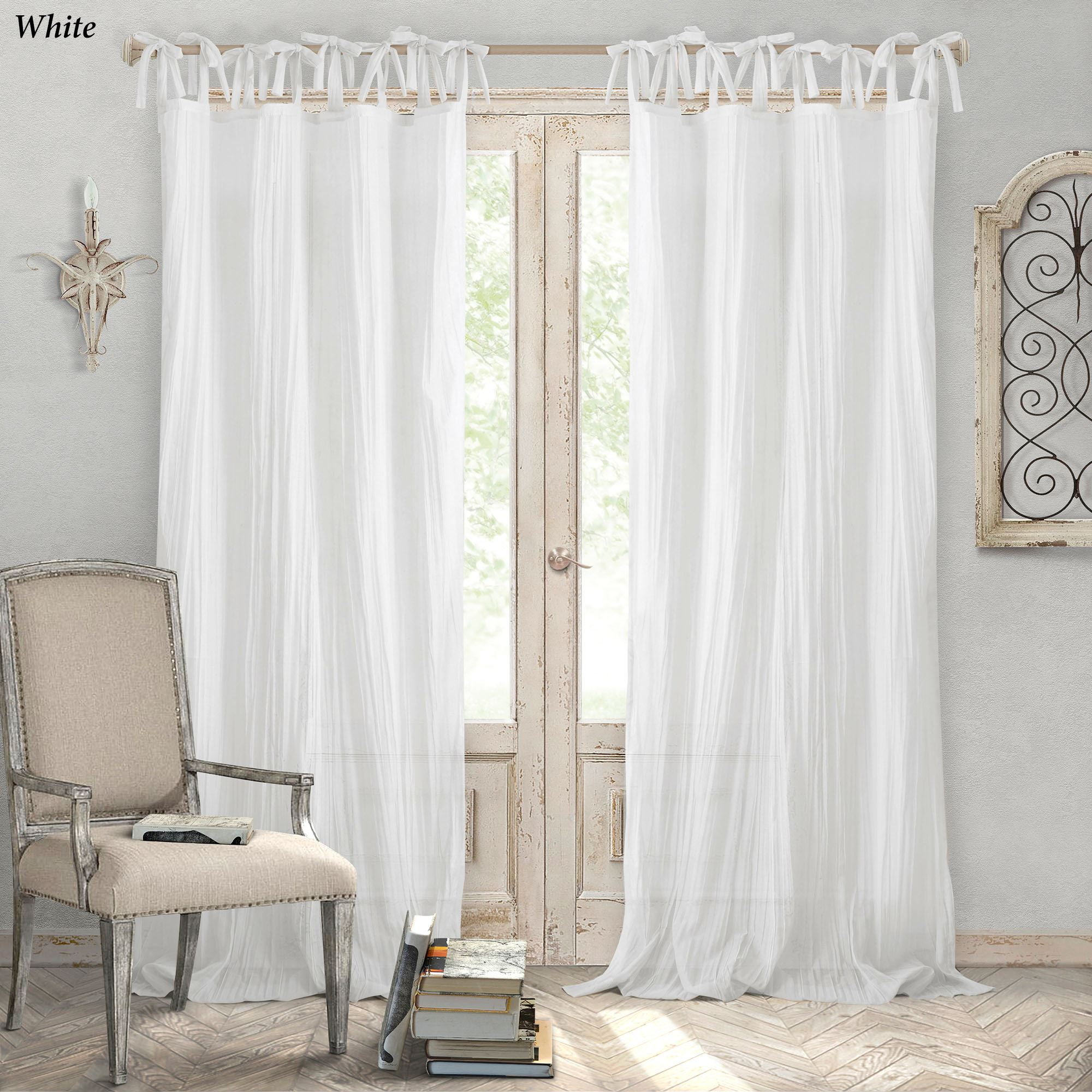 Jaeda Crushed Semi Sheer Tie Tab Top Curtain Panel