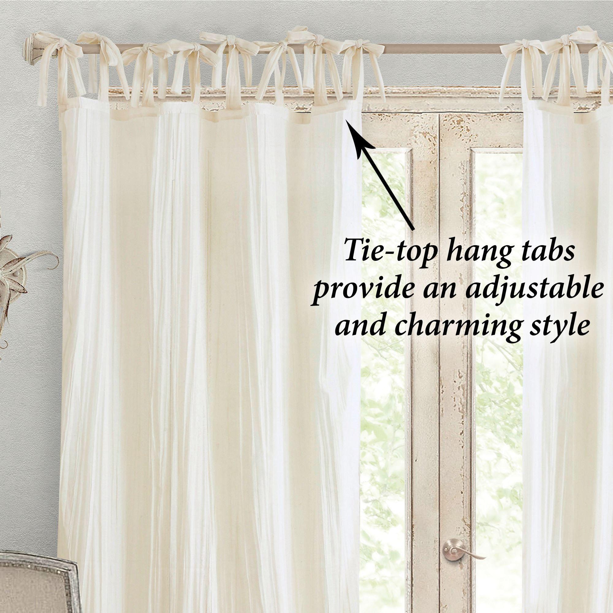 Jaeda Semi Sheer Tie Tab Top Curtain Panel