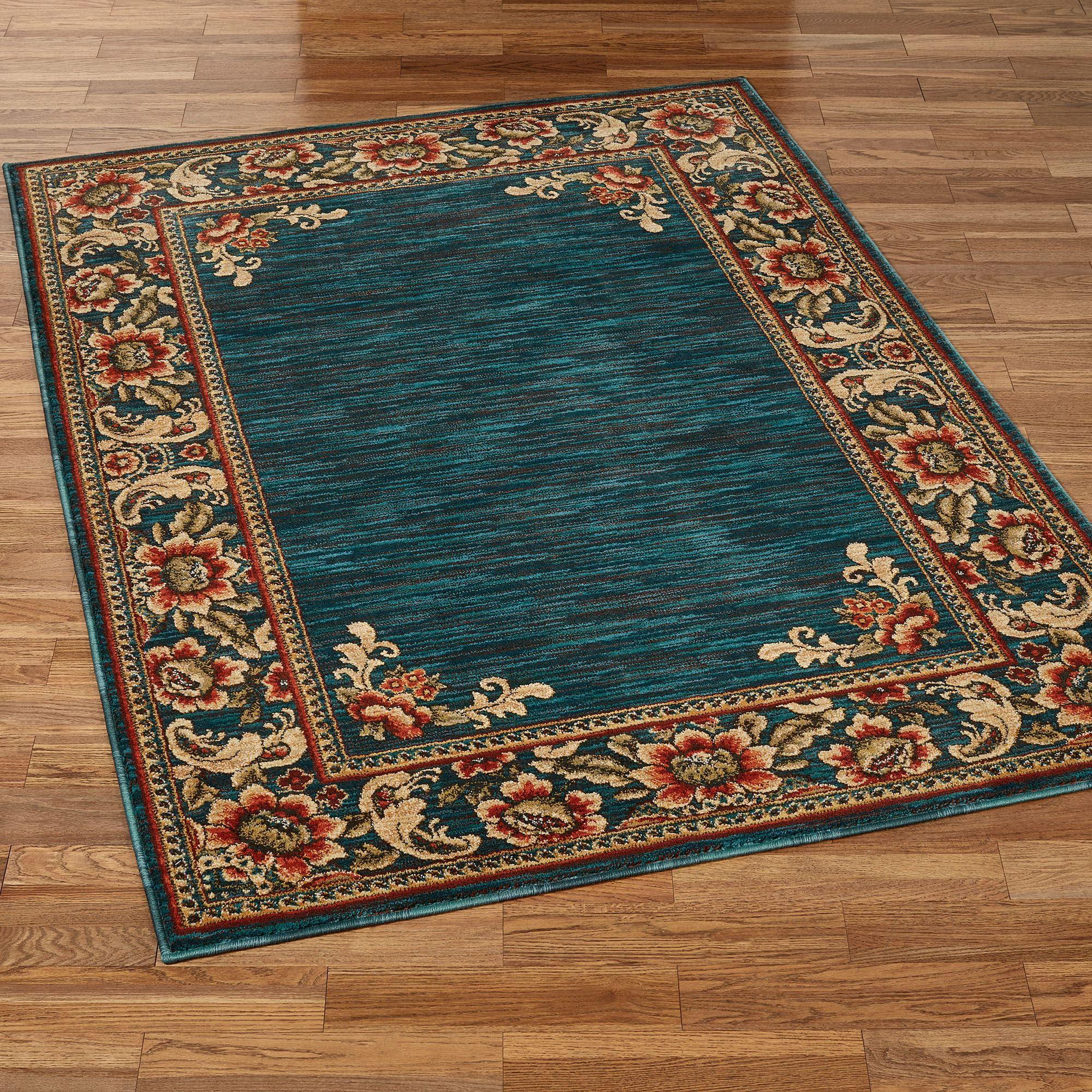 florian border jacobean floral dark teal area rugs. Black Bedroom Furniture Sets. Home Design Ideas