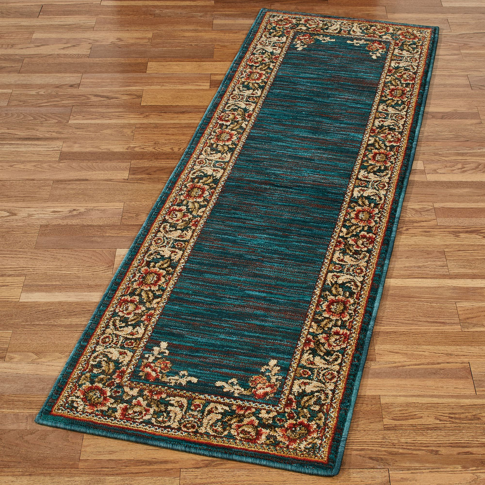 Florian Border Jacobean Floral Dark Teal Rug Runner