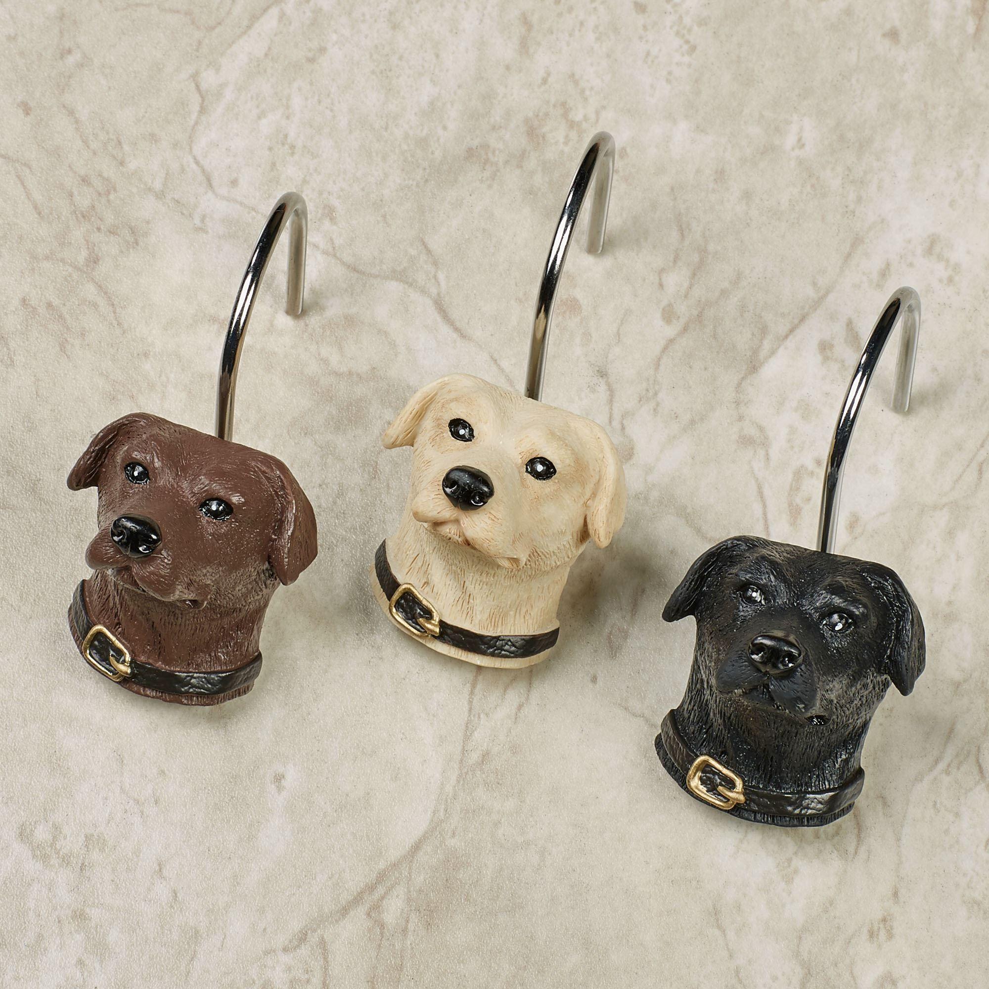 Woodland Dogs Shower Hooks Light Cream 12 Piece Set