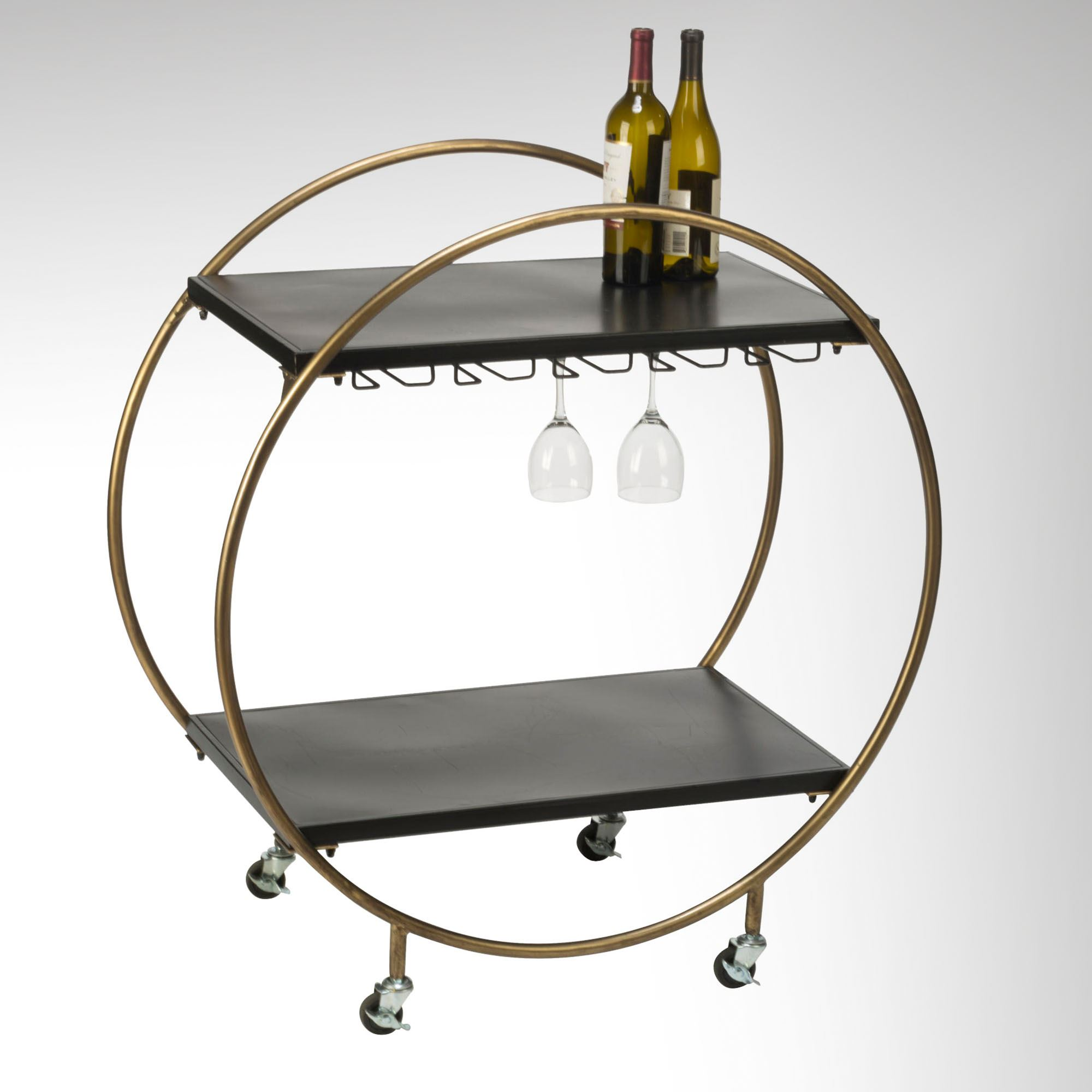 kadience rolling wine bar cart with stemware rack and locking casters. Black Bedroom Furniture Sets. Home Design Ideas