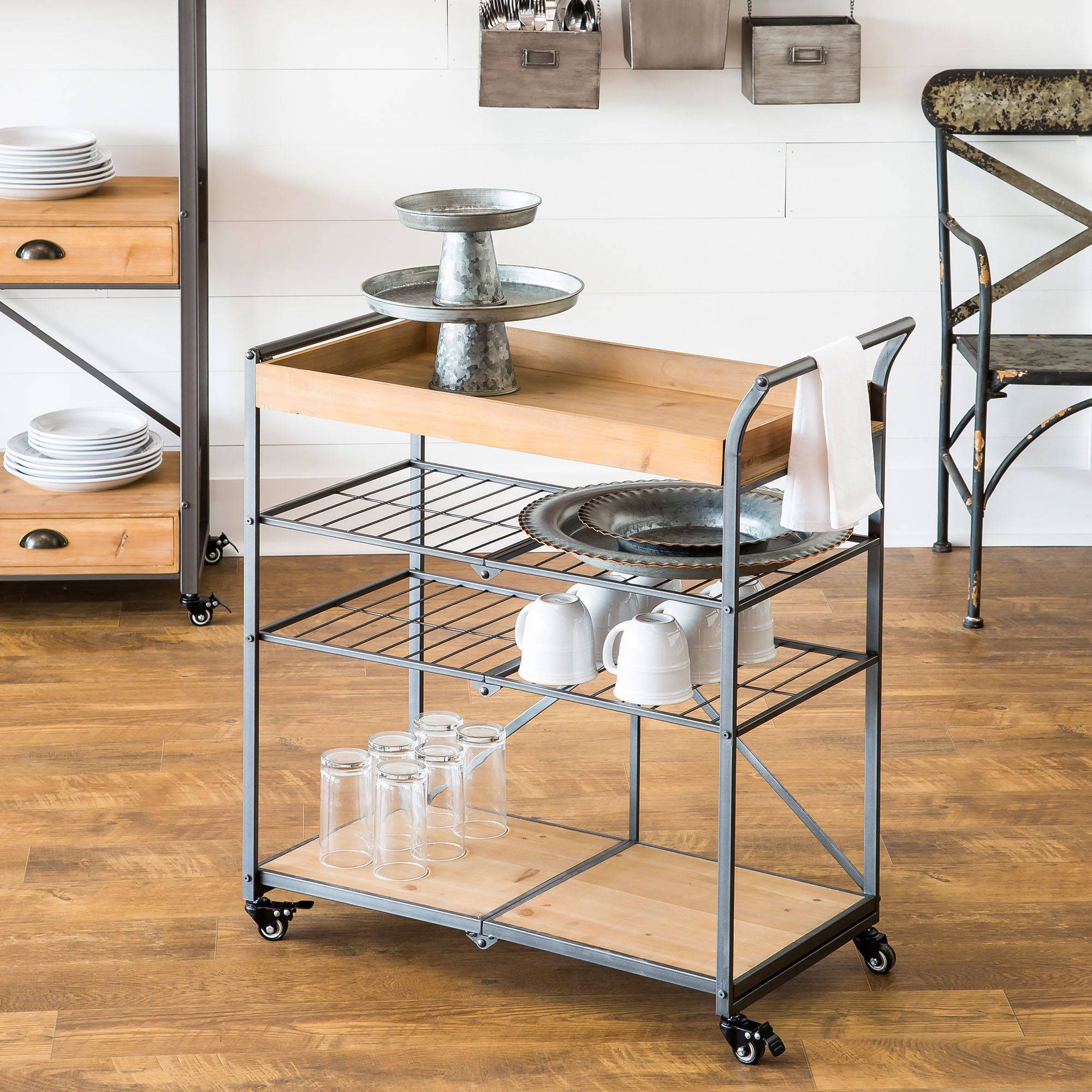 Away Folding Serving Cart With Locking Wheels
