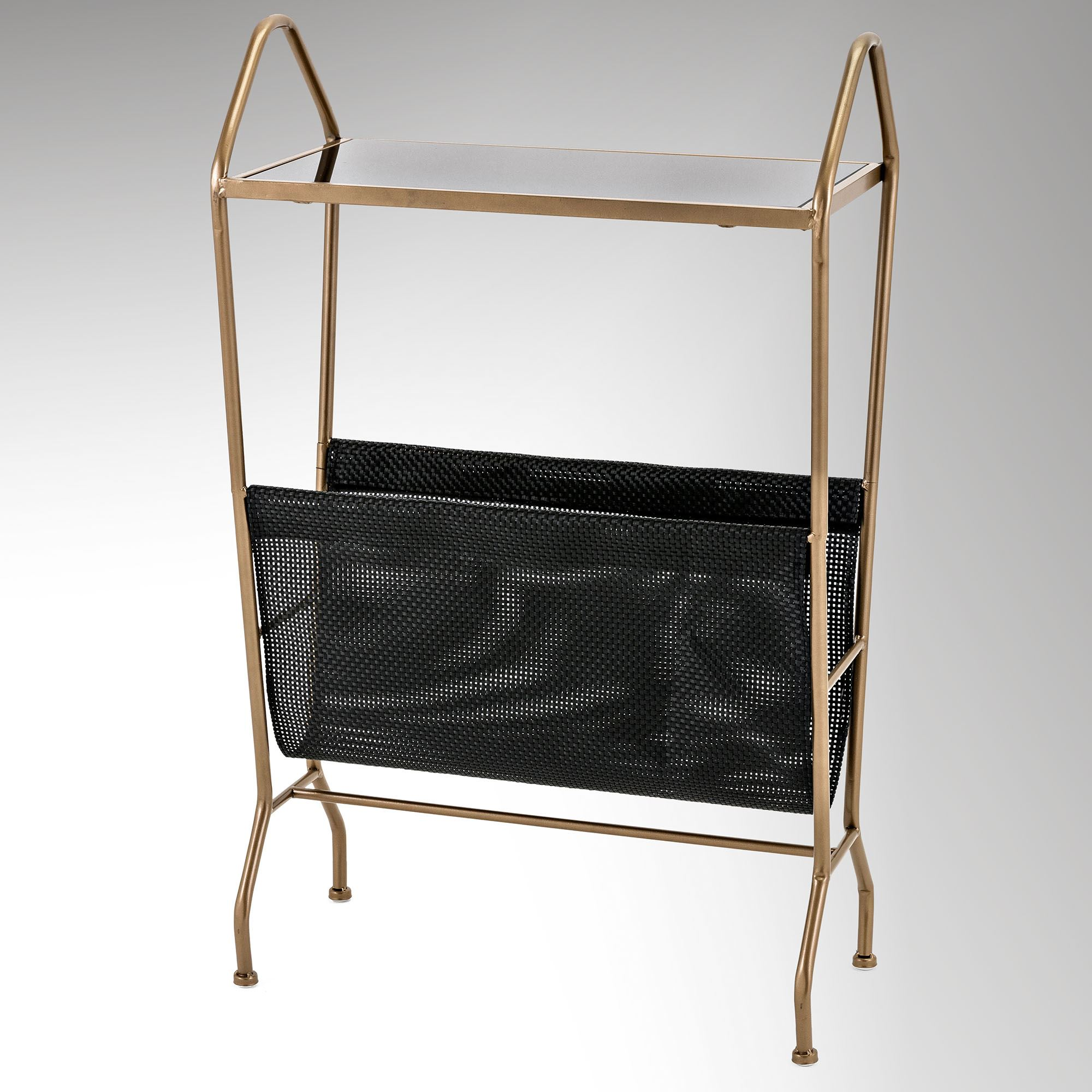 Wren Modern Magazine Rack Table With Glass Top
