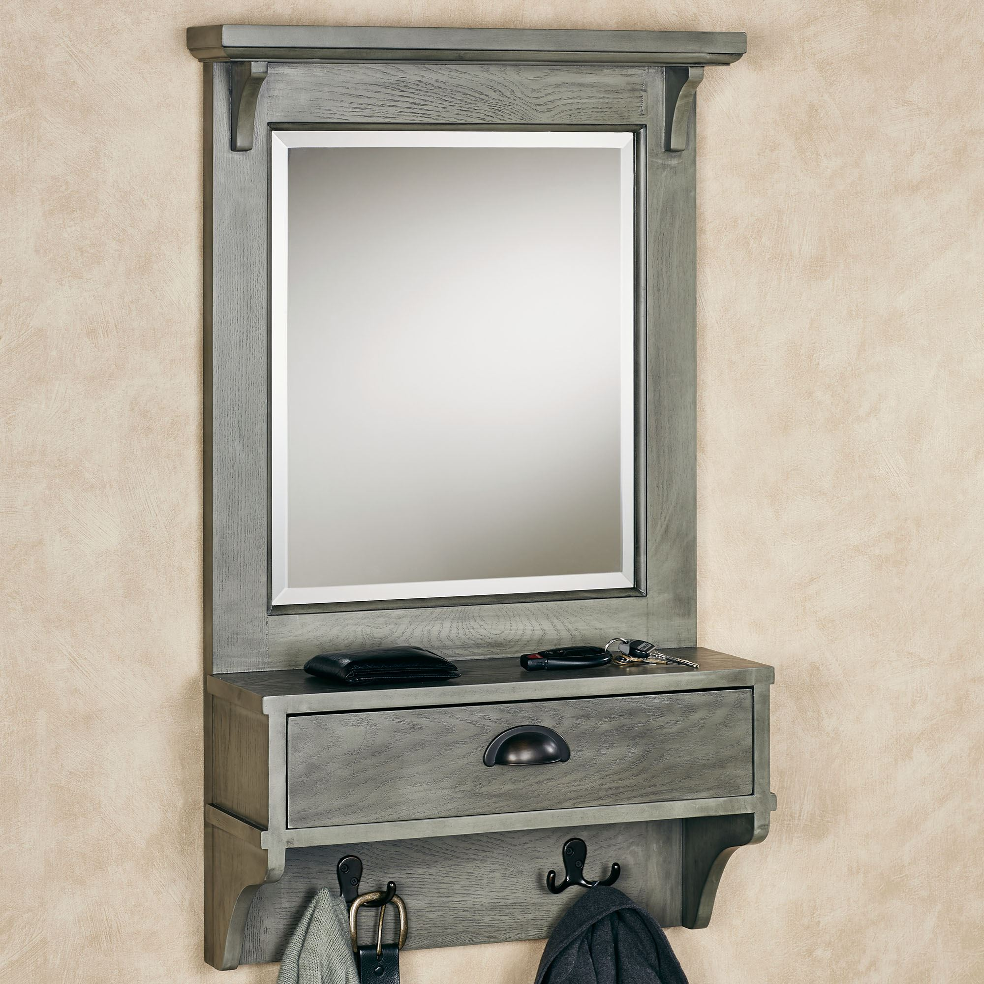 Karter Gray Mirrored Wall Shelf With