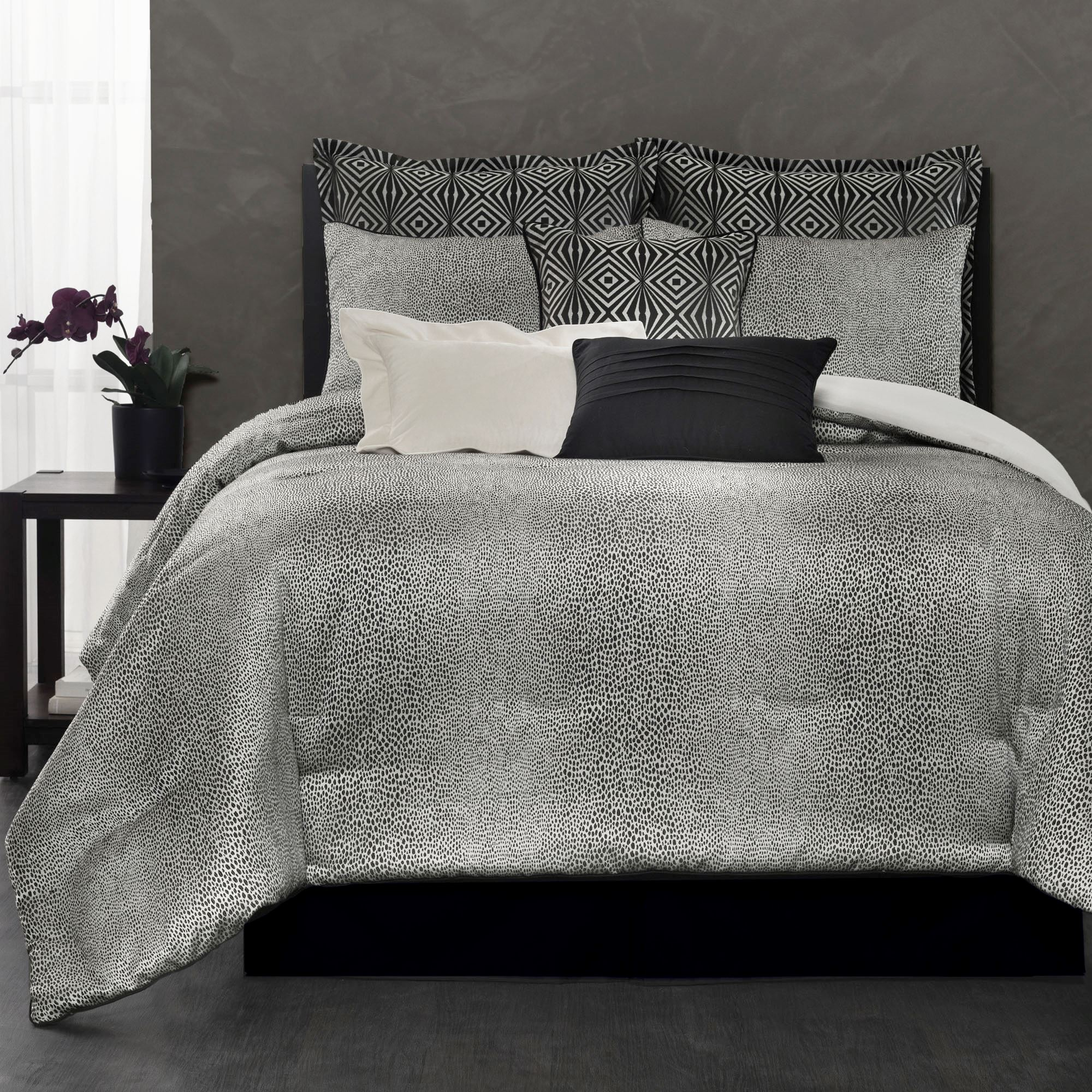 Avalon Ombre Black Leopard Print Comforter Bedding From Laundry By