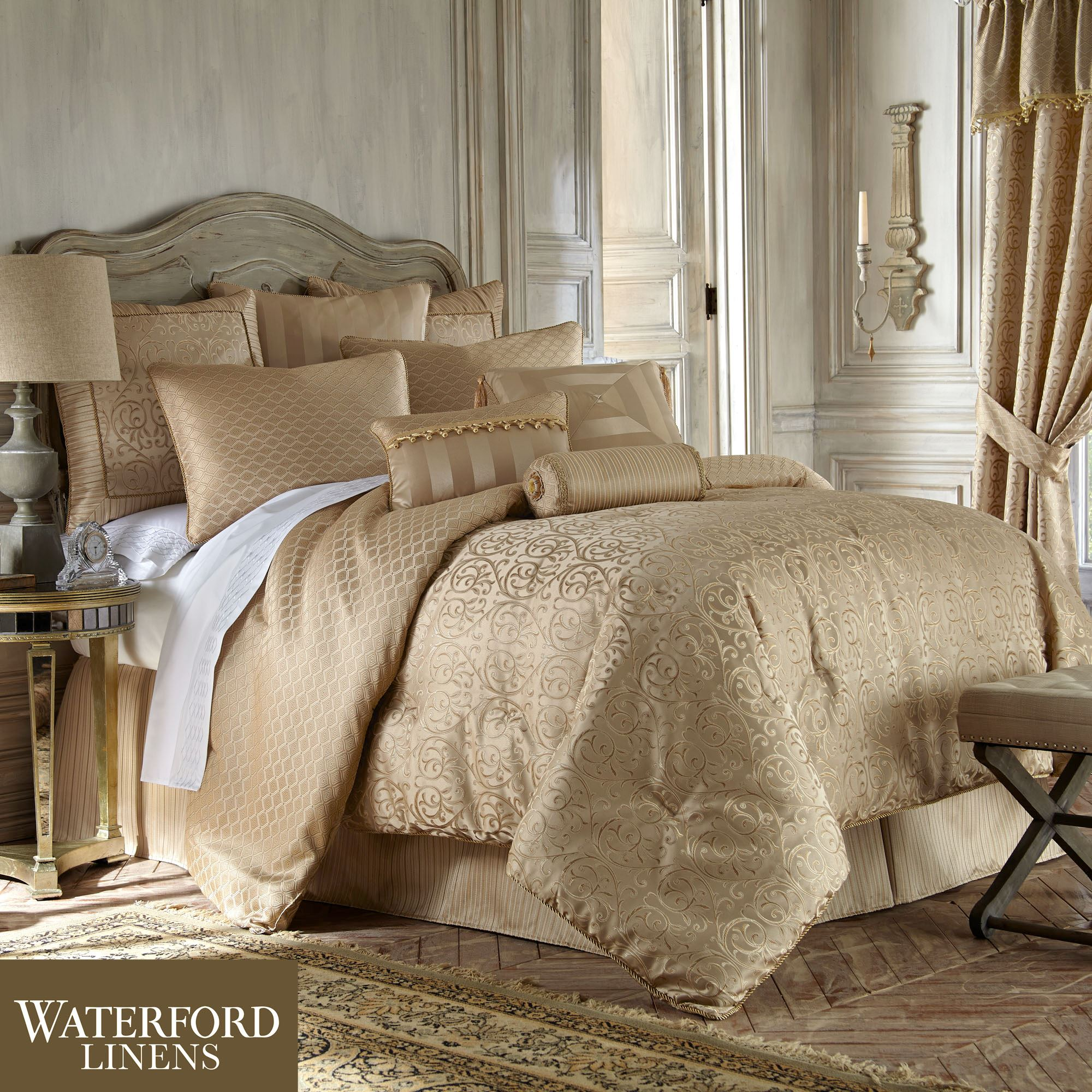 Anya gold comforter bedding from waterford linens - Bedroom sheets and comforter sets ...