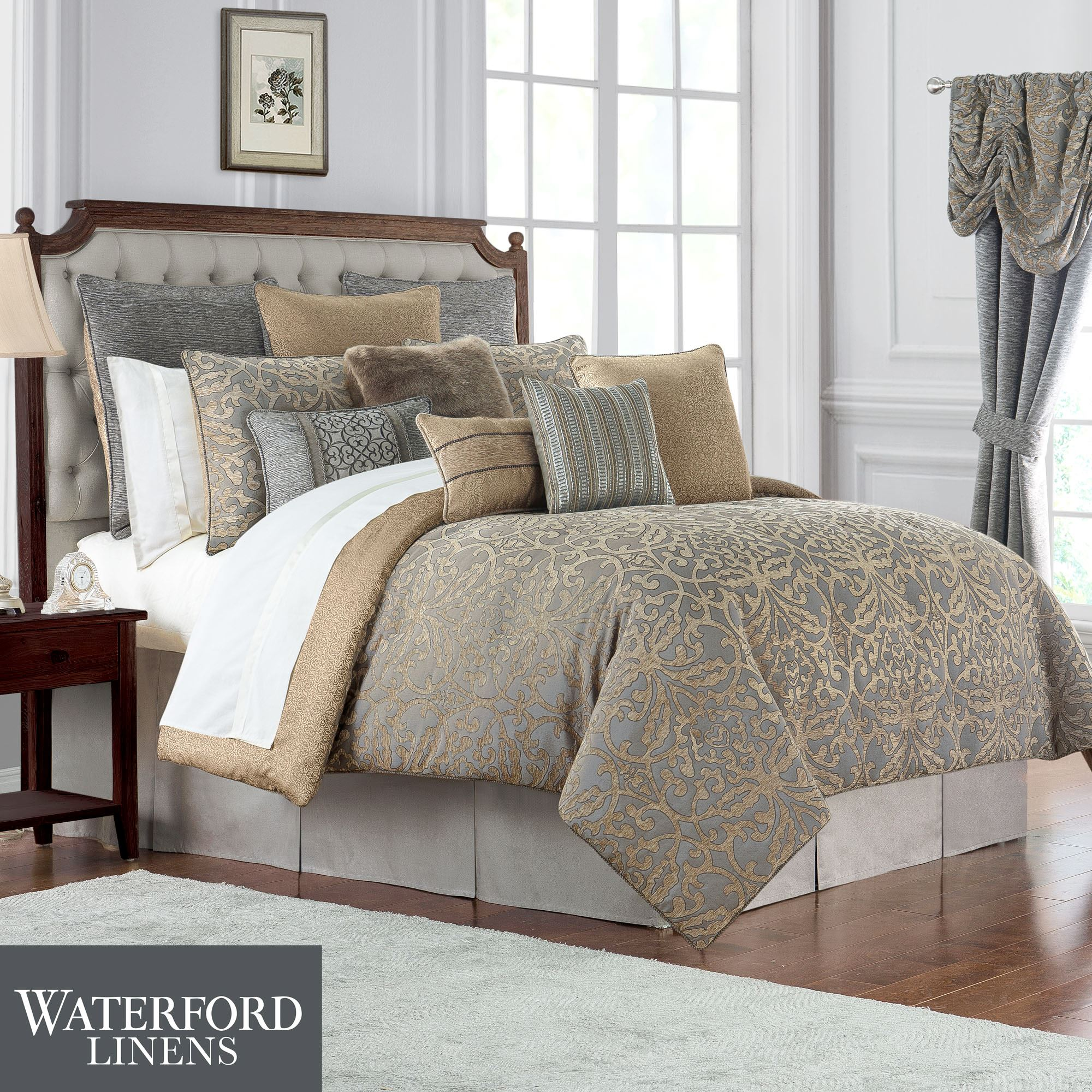 Carrick Reversible Gold And Gray Damask Comforter Bedding By Waterford Linens