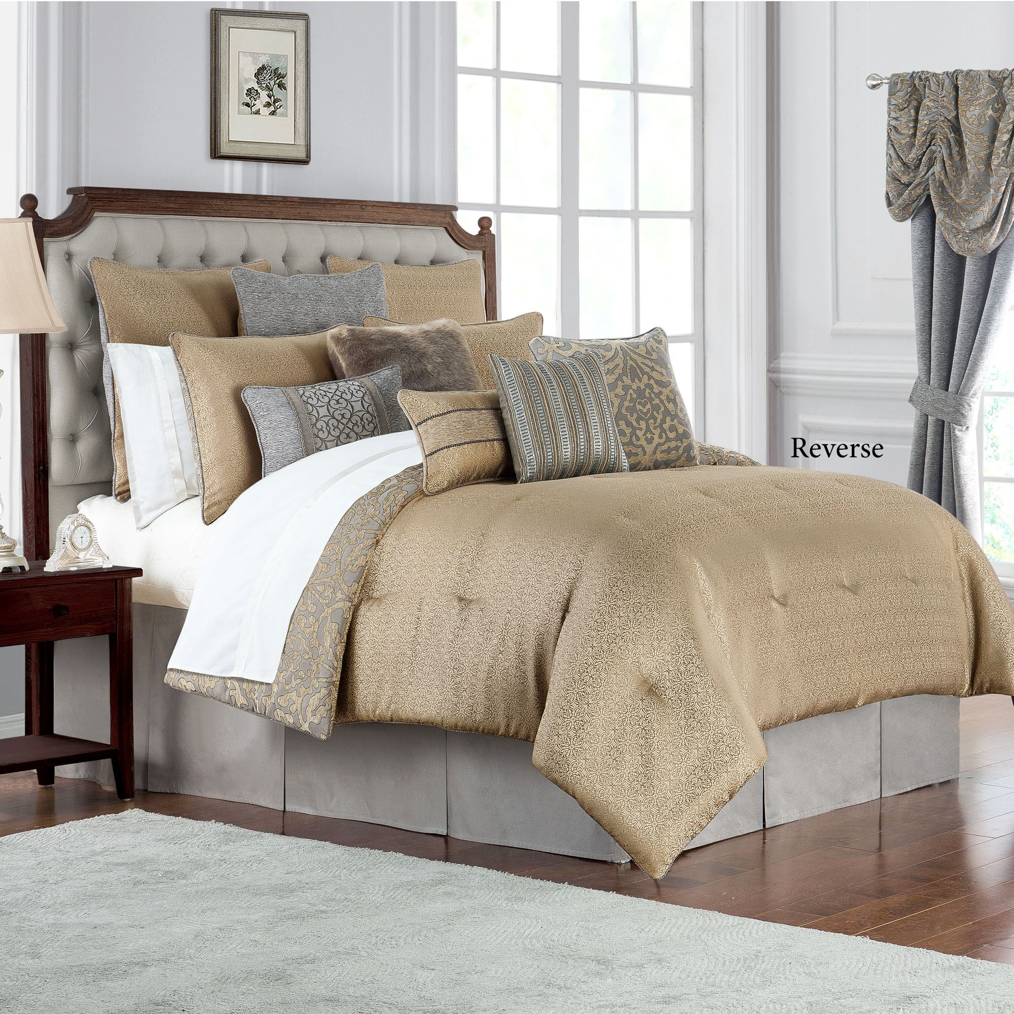 Carrick Reversible Gold And Gray Damask Comforter Bedding