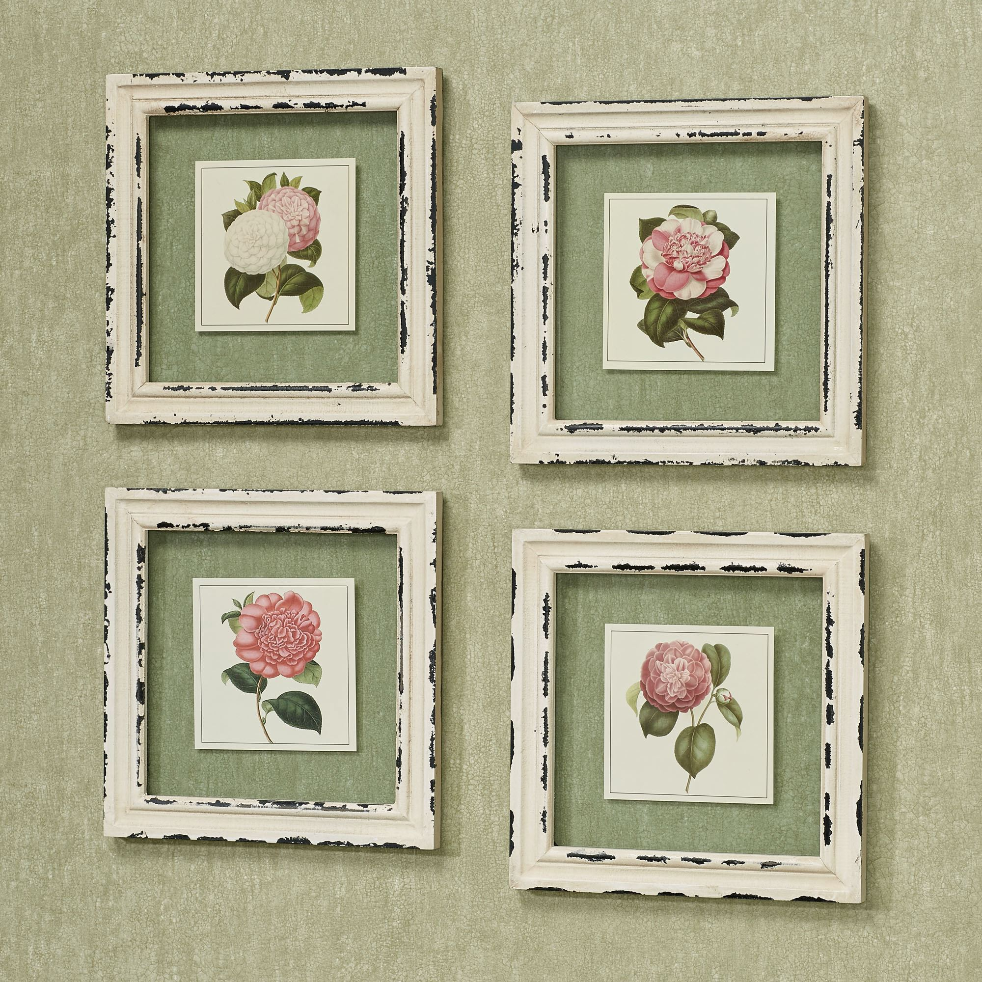 Framed art prints touch of class french rose floral clear glass framed wall art set jeuxipadfo Image collections