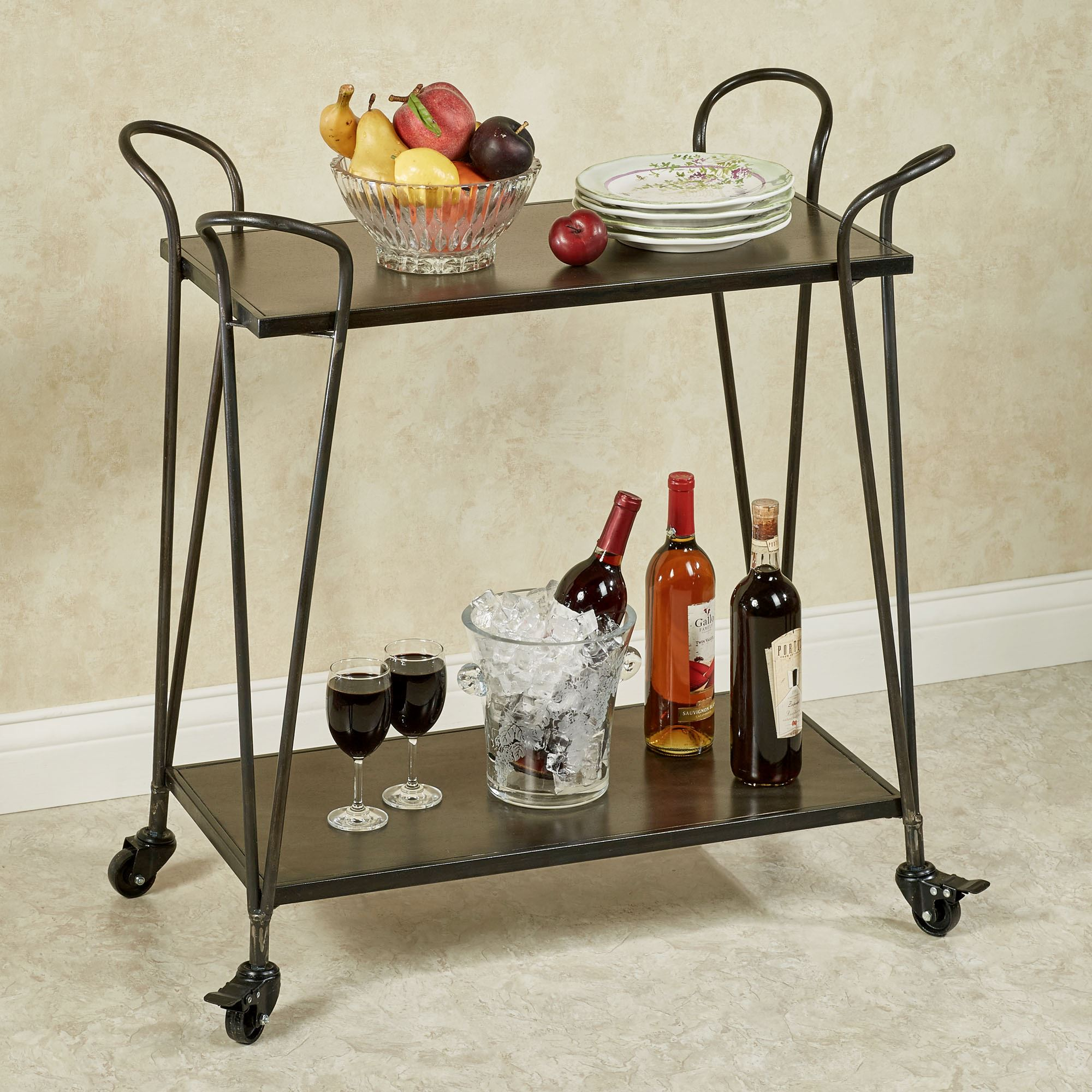 Brea Metal Serving Cart With Wheels