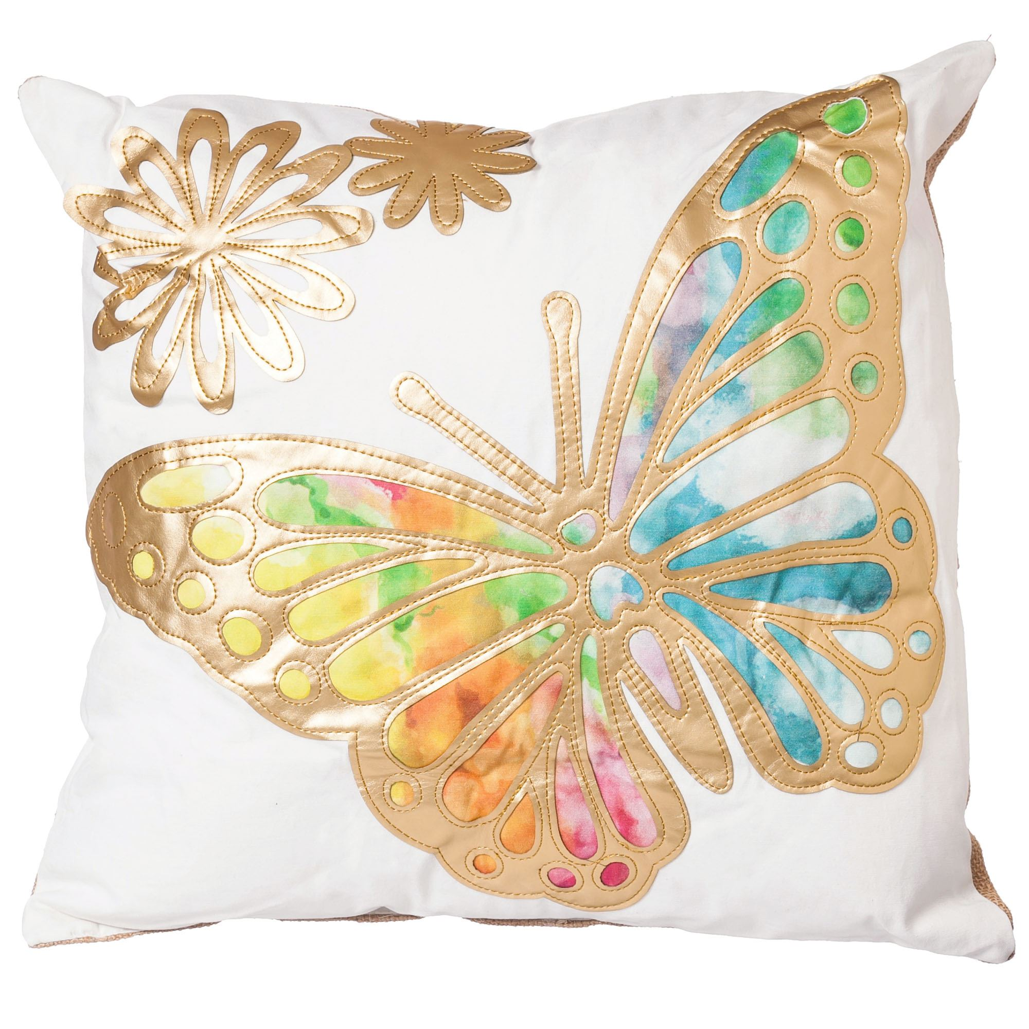 Gold Winged Beauties Dragonfly or Butterfly Indoor Outdoor Pillow