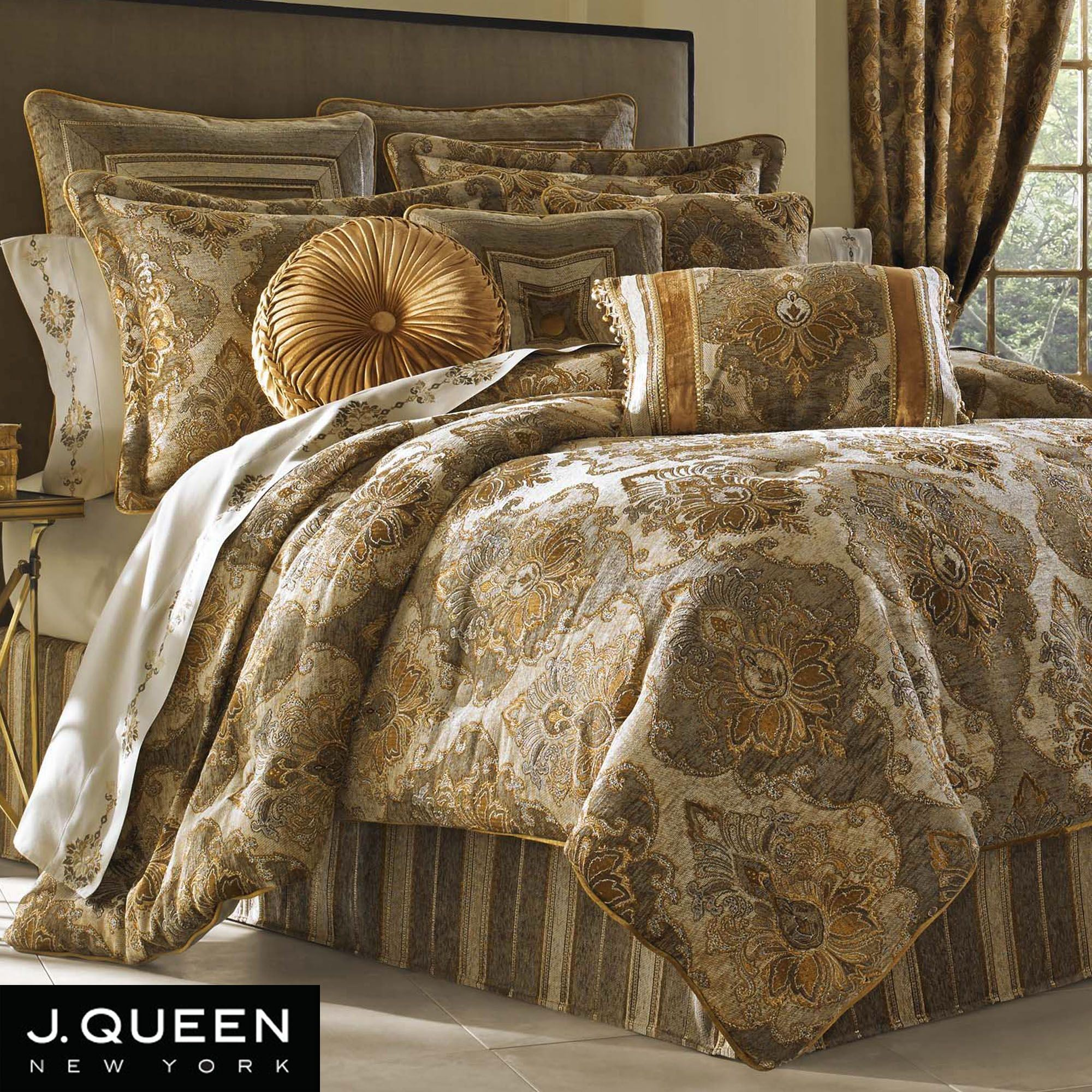 Bradshaw damask comforter bedding by j queen new york - Bedroom sheets and comforter sets ...