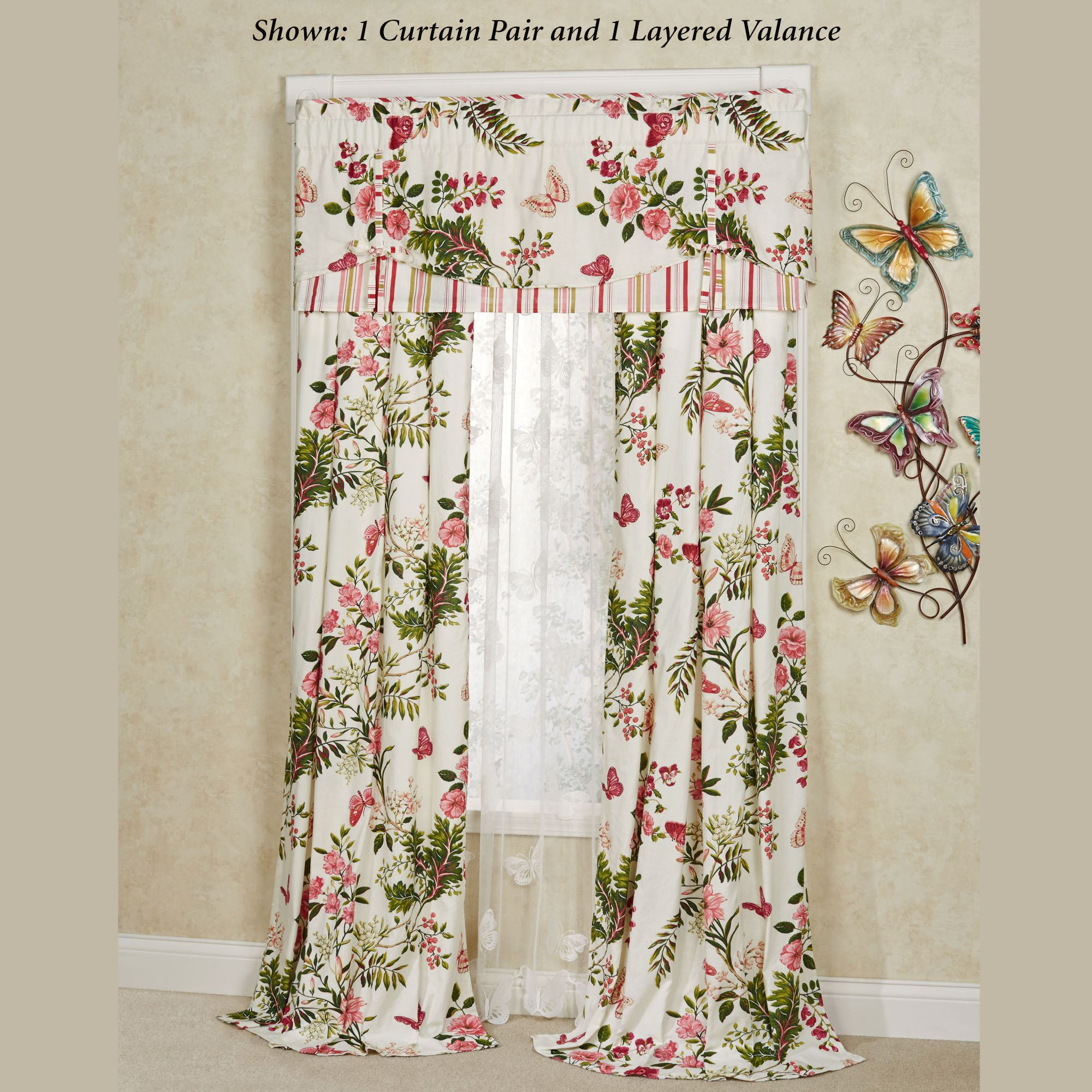 Butterfly garden floral window treatment for Flowery curtains design