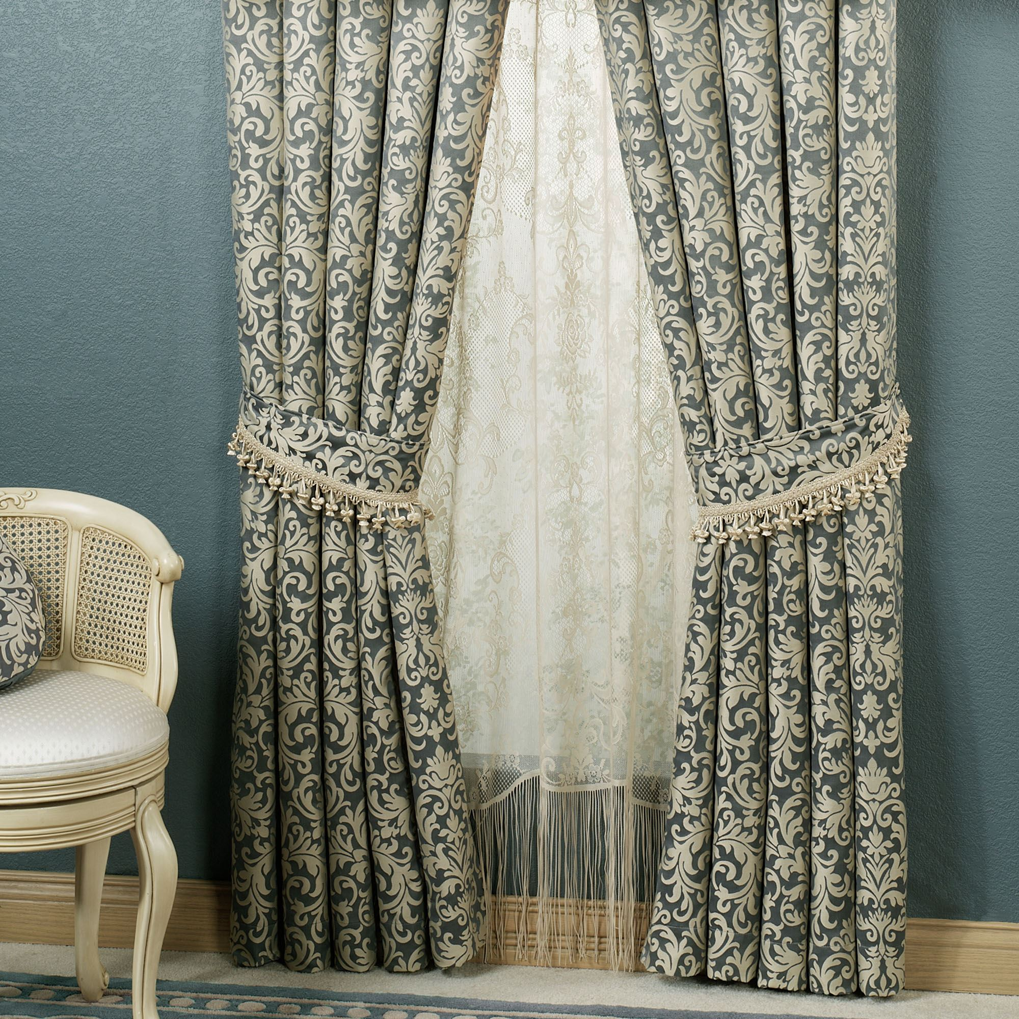 Overview Give Your Room Timeless Grace With The Polyester Sterling Damask Window Treatment