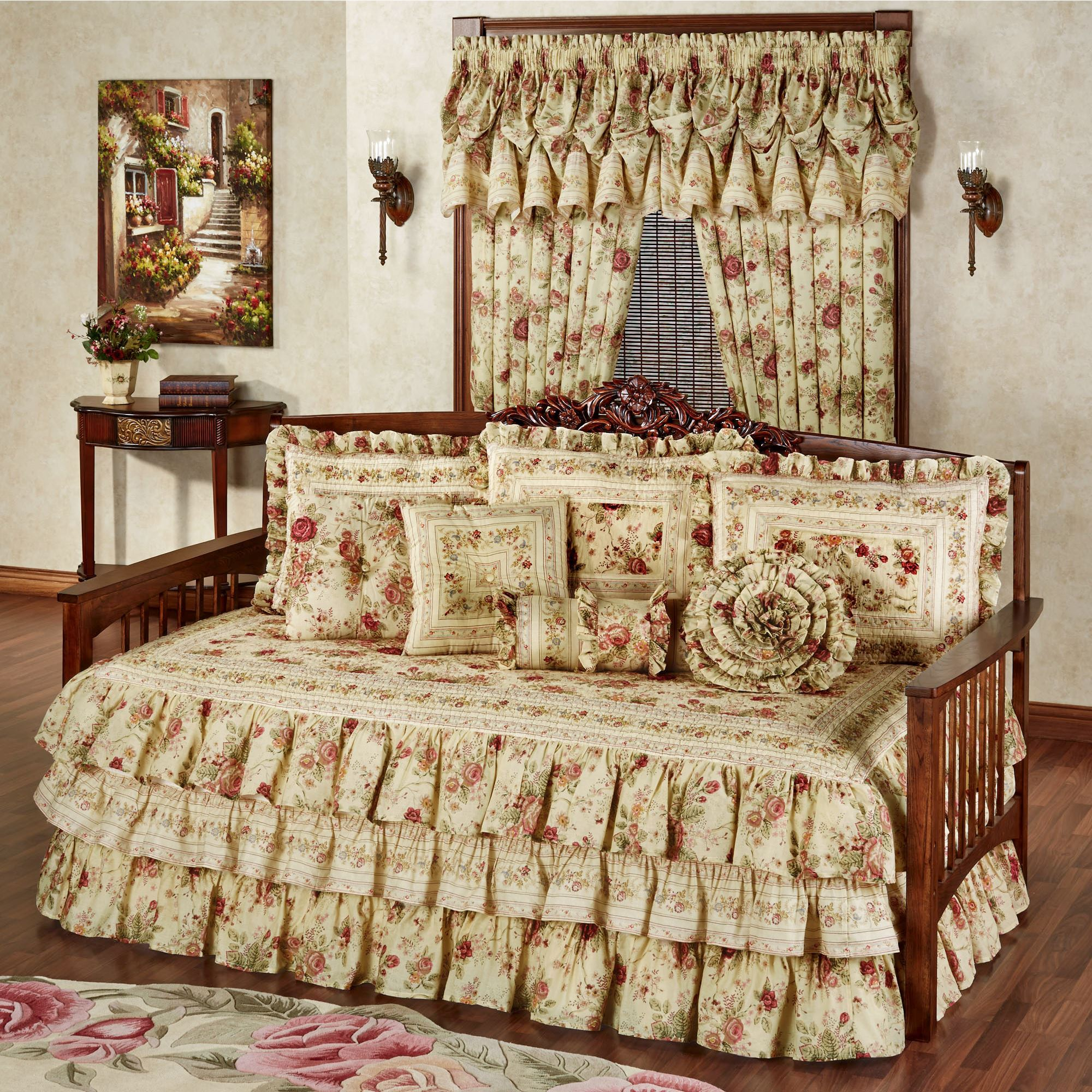 Vintage Rose Floral Ruffled Daybed Bedding Set