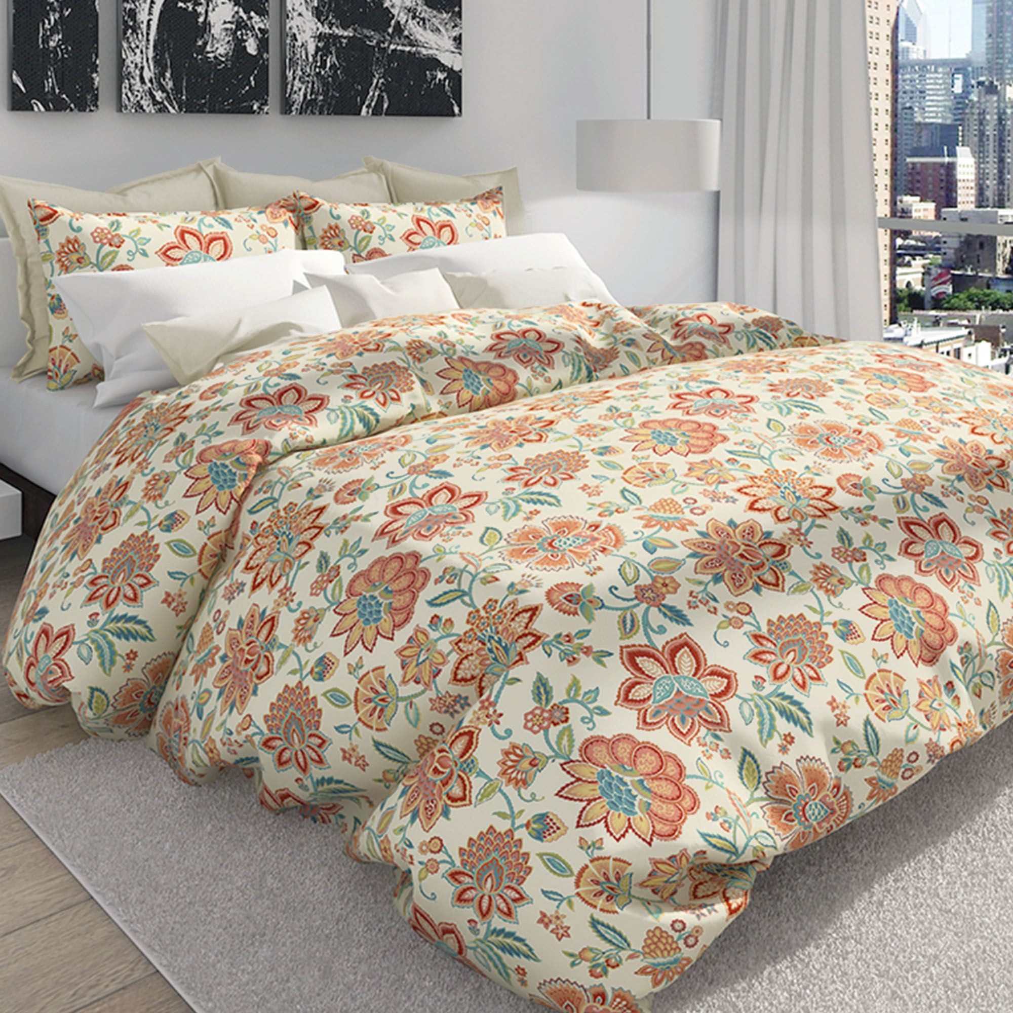 bella jacobean floral duvet cover set melon click to expand. bella melon jacobean floral duvet cover set by colorfly