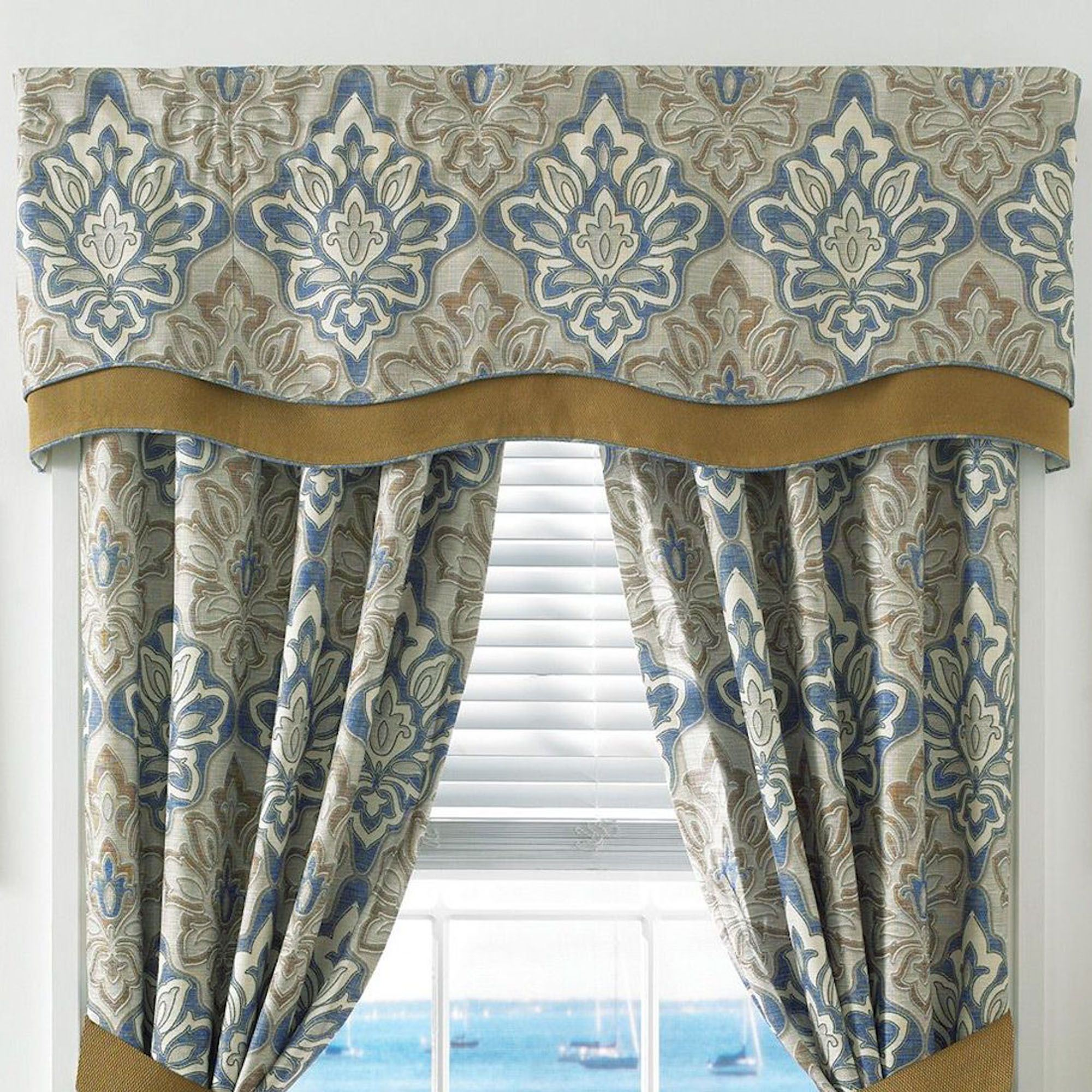 Captains Quarters Scalloped Valance Federal Blue 67 X 18