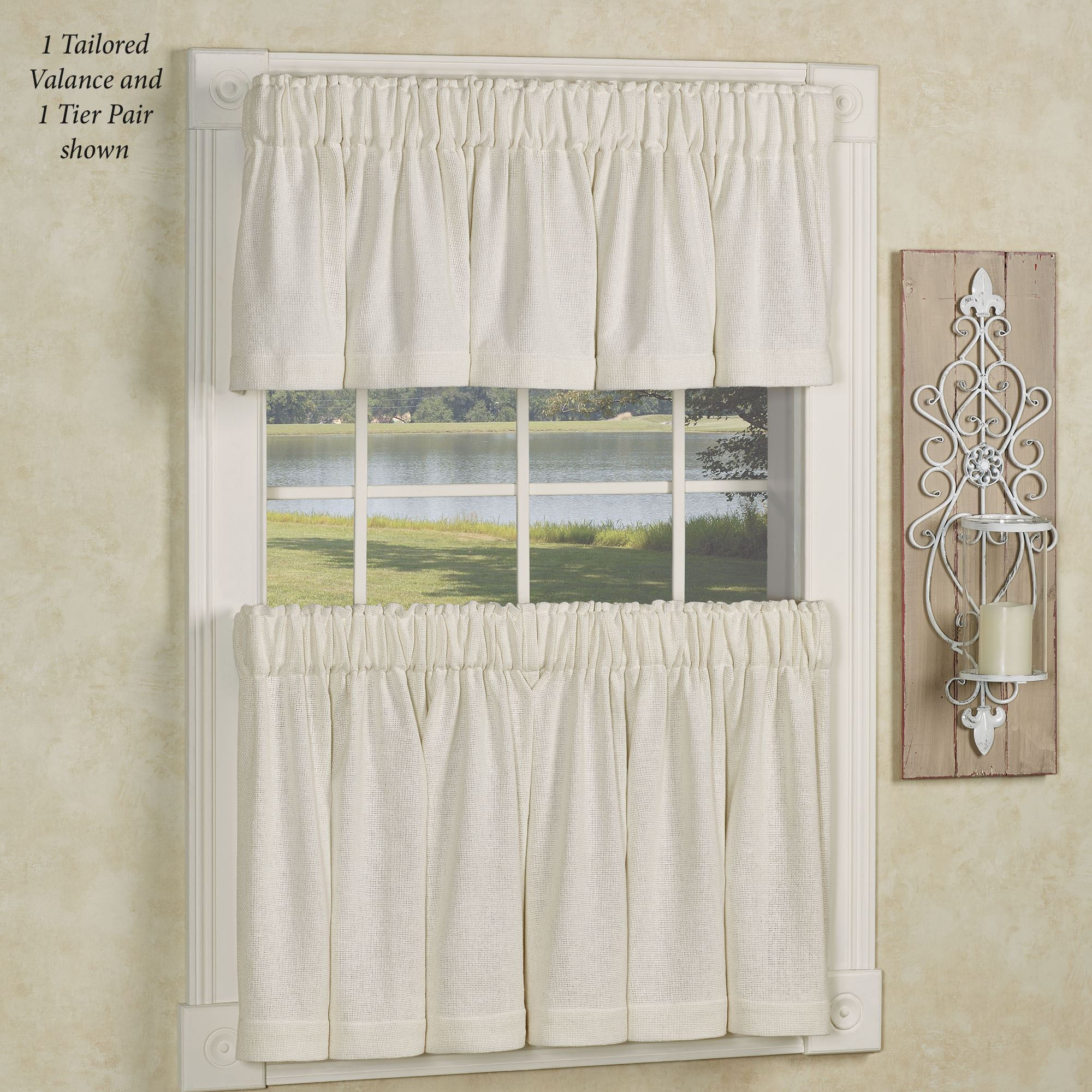 Antique White Burlap Soft Cotton Tier Window Treatment