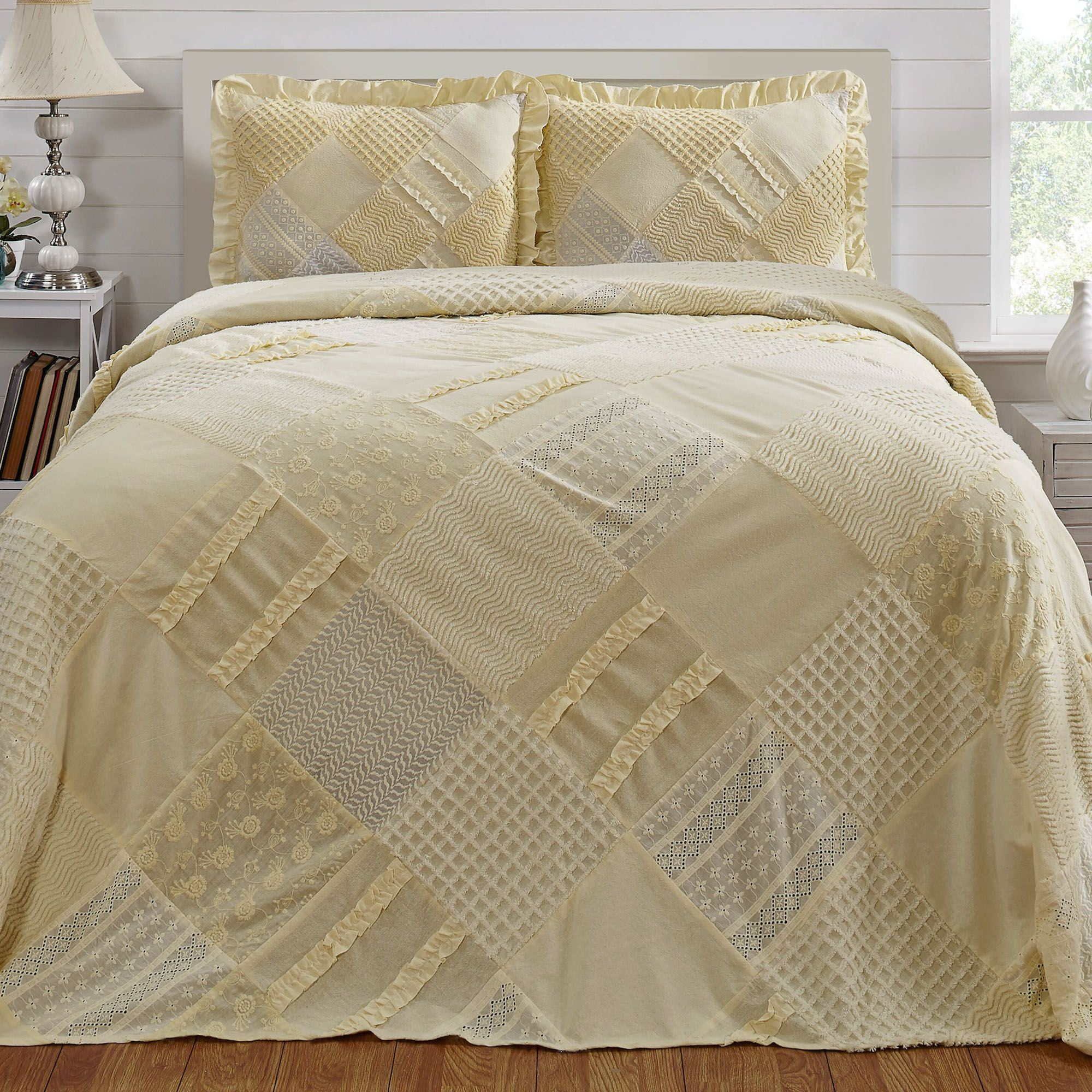 Patchwork lightweight chenille bedspread bedding for Chenille bedspreads