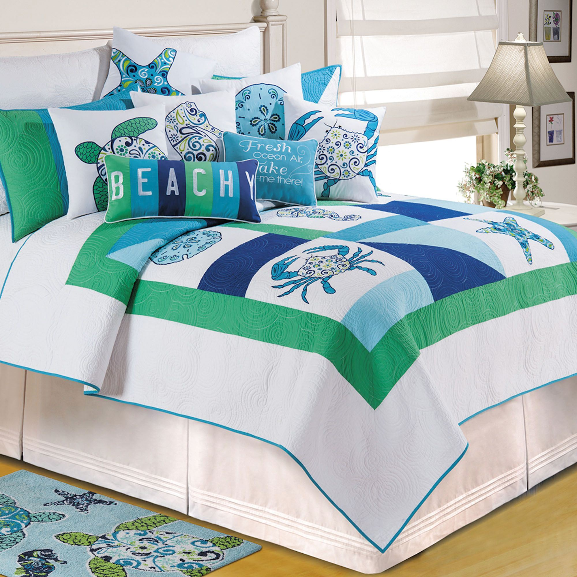 exciting ocean themed bedroom | Meridian Waters Ocean Themed Patchwork Quilt Bedding