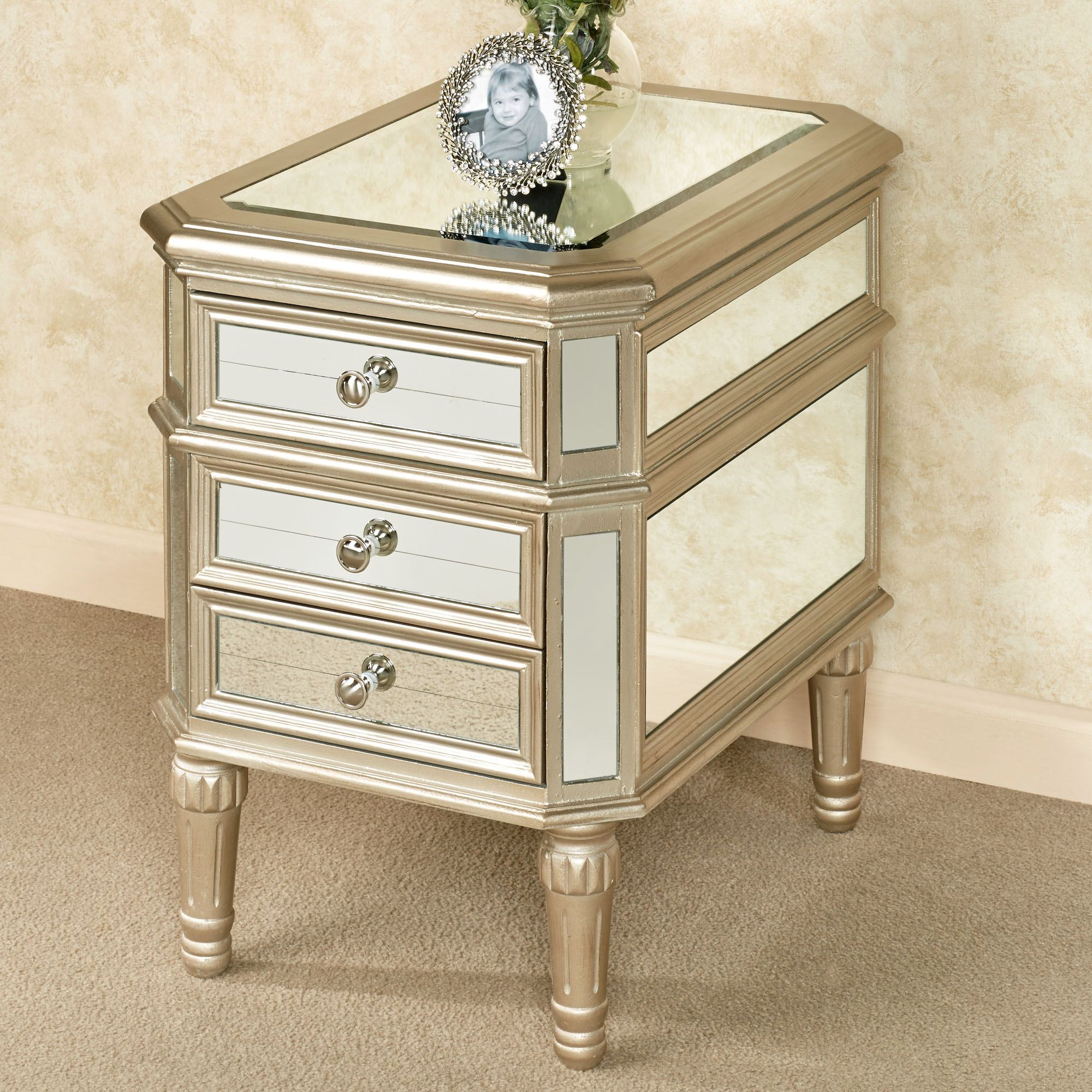 Hadleigh Mirrored Side Table Champagne Gold Touch To Zoom
