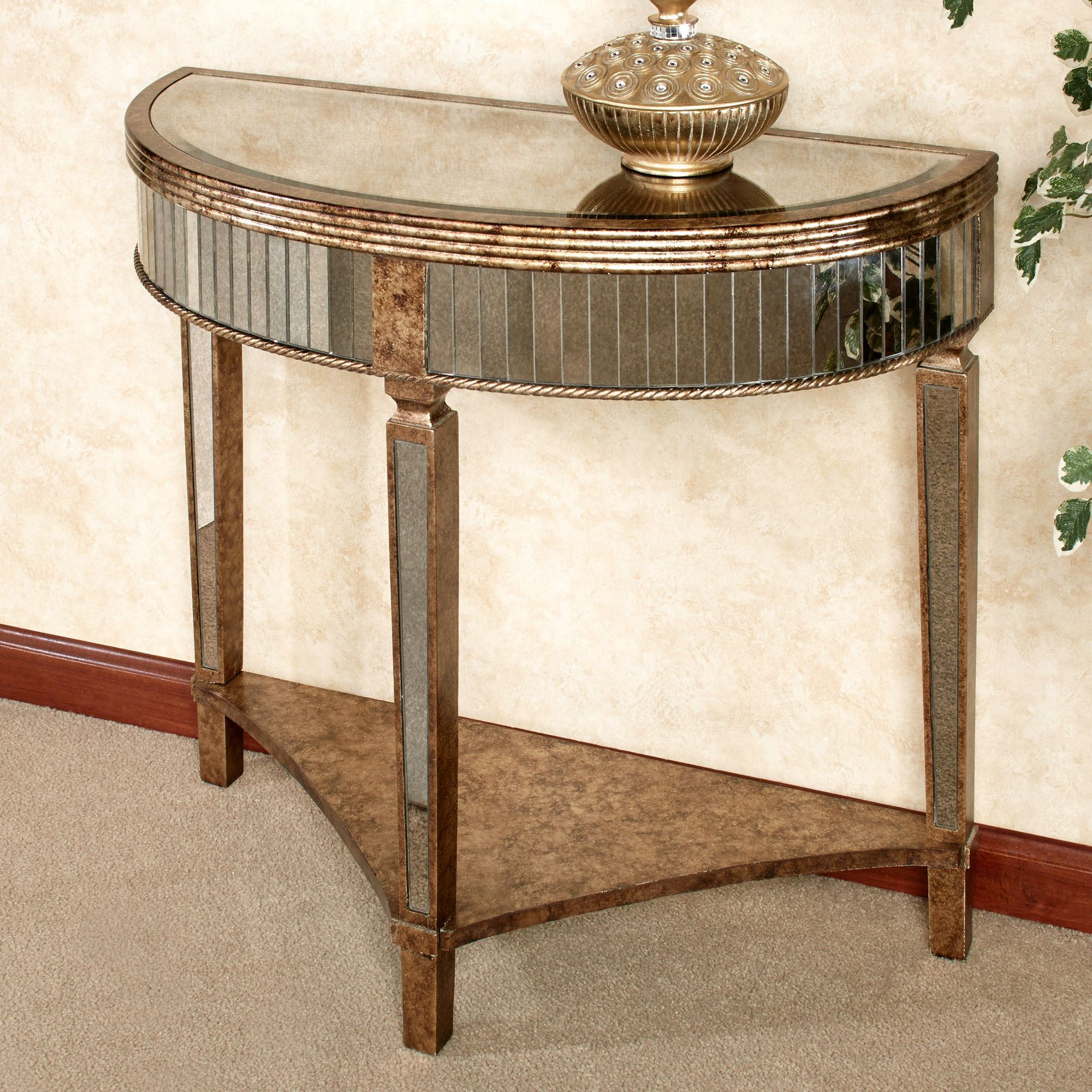 Gentil Bella Mina Mirrored Console Table Venetian Gold. Touch To Zoom