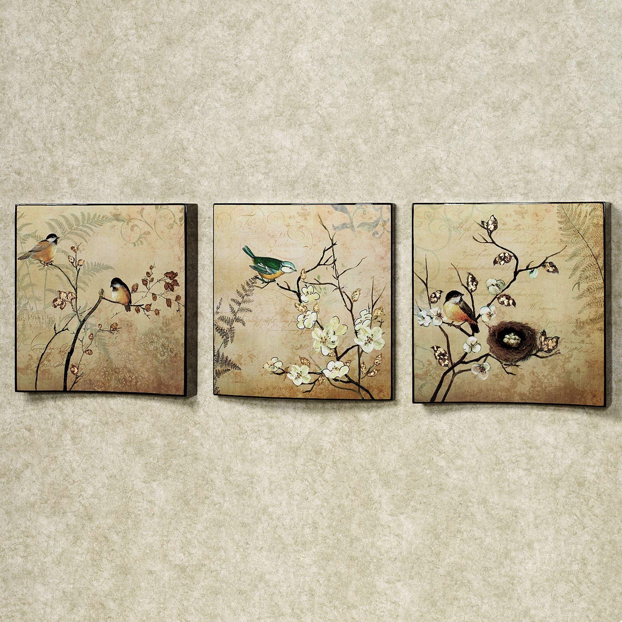 Natures Kiss Birds Wall Art Set Beige Of Three