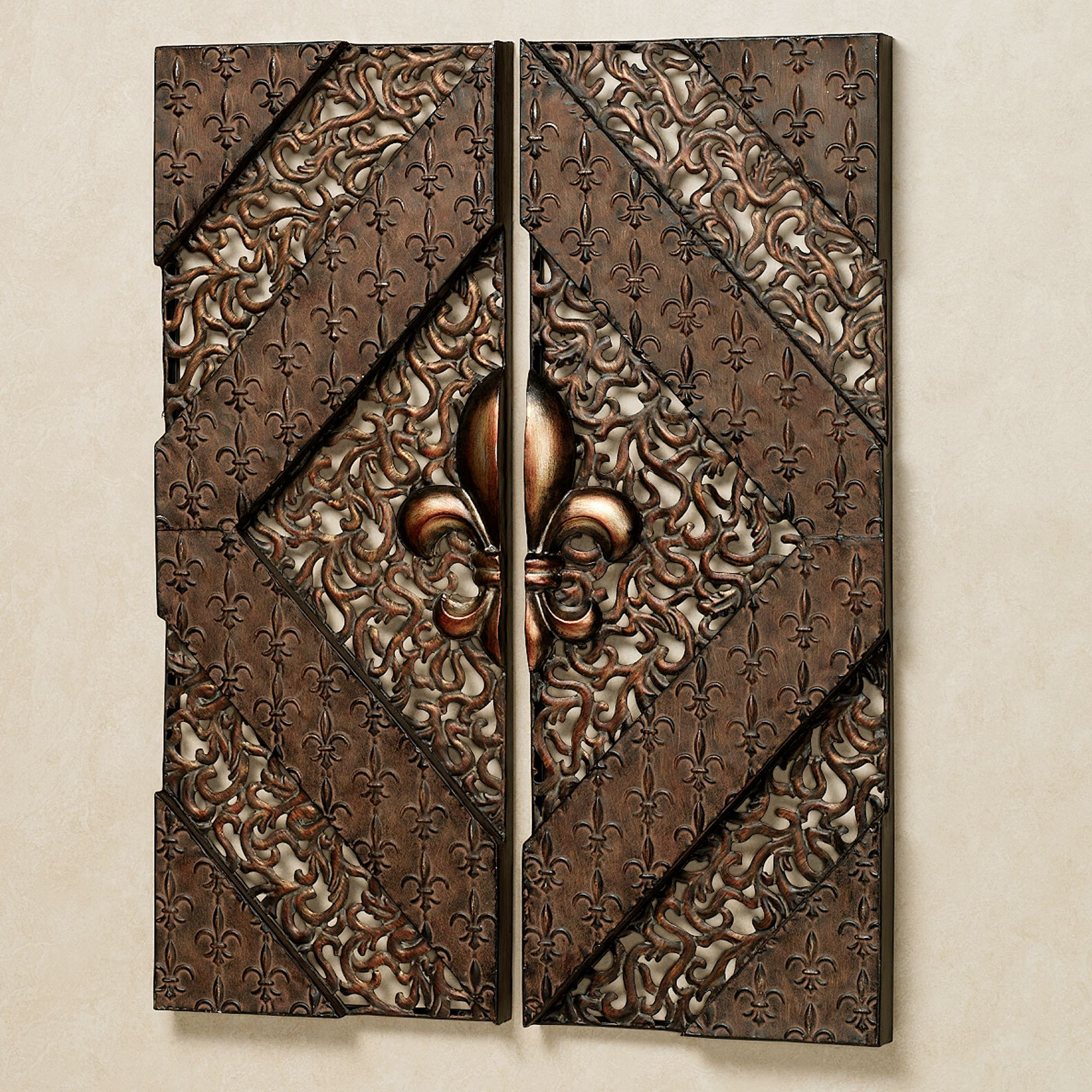 Fleur De Lis Wall Panel Set Aged Bronze Set Of Two. Click To Expand