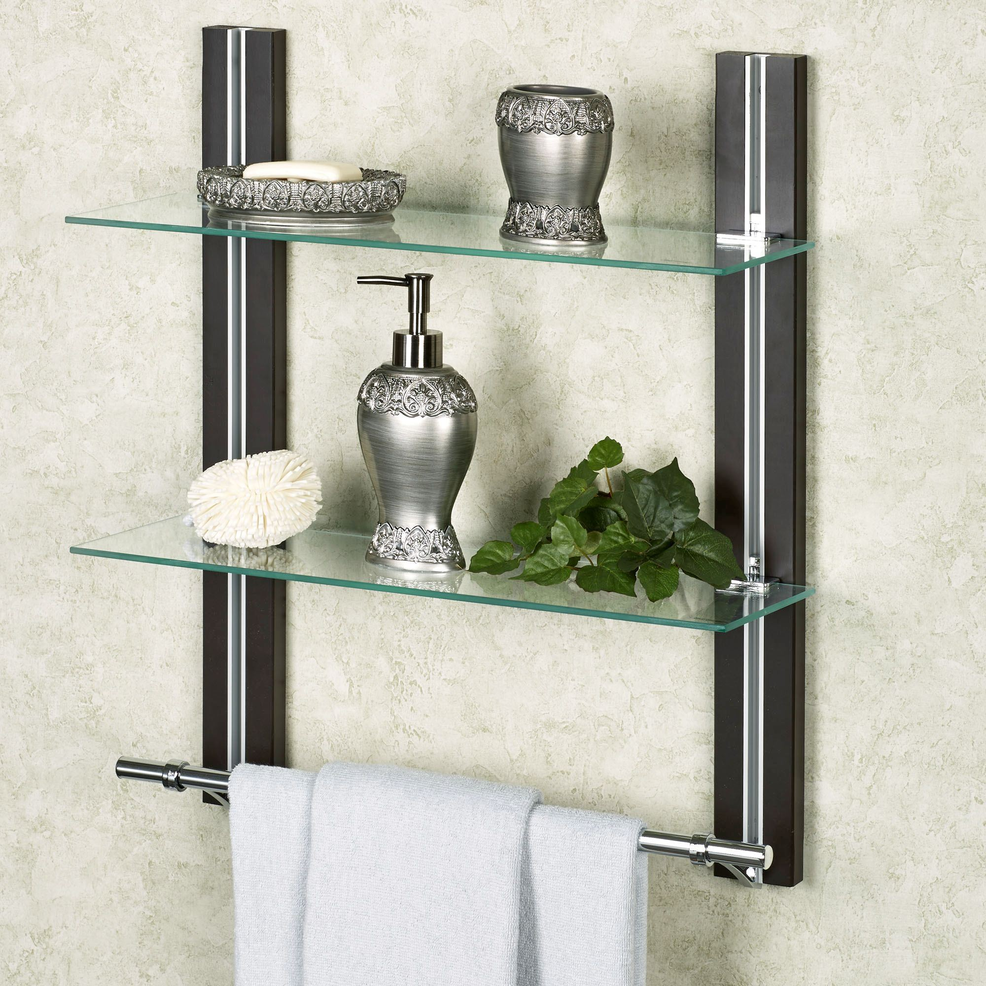 two tier glass bathroom shelf with towel bar rh touchofclass com Bathroom Shelf with Towel Bar Bathroom Shelves with Towel Bar