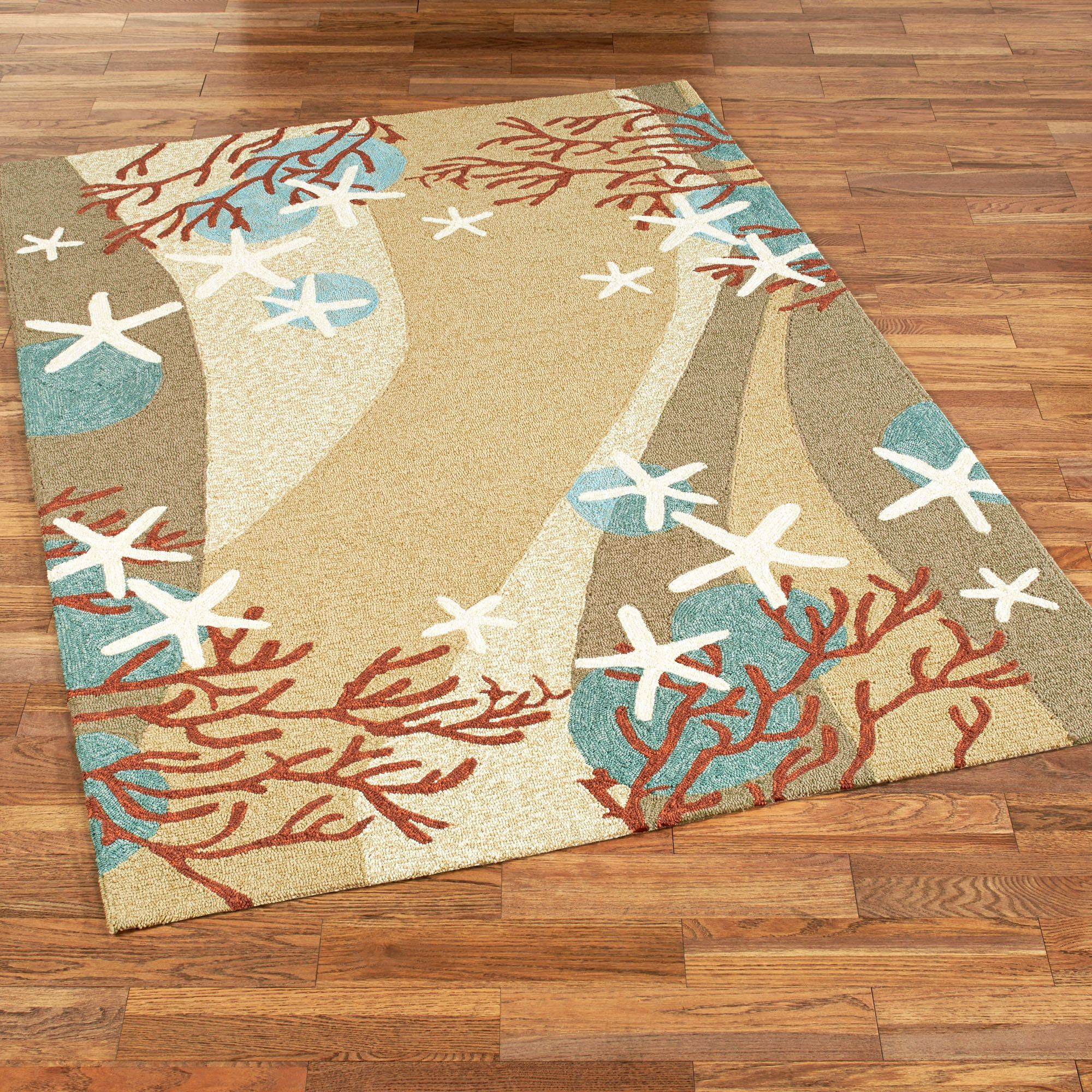 Coral Waves Rectangle Rug Multi Cool