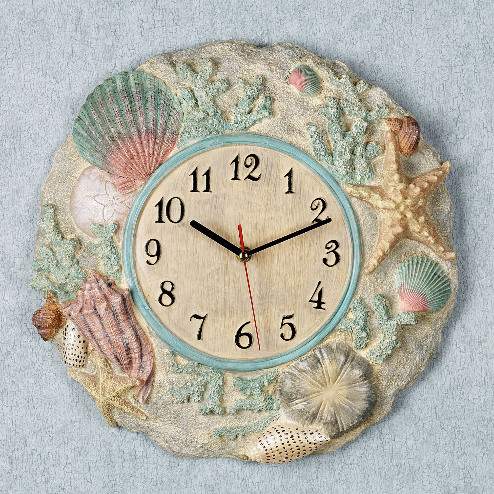 Down at the beach seashell wall clock beach wall clock natural click to expand amipublicfo Images
