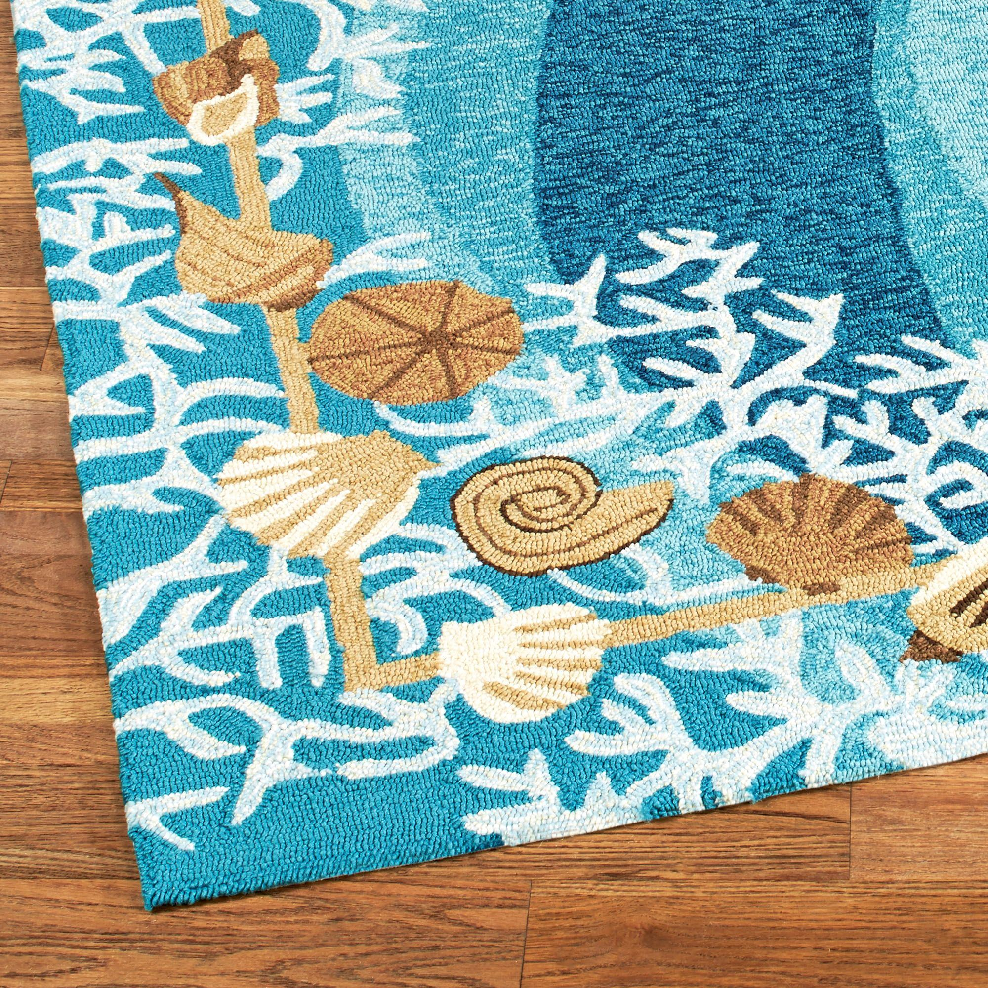 Shells and White Coral Coastal Indoor Outdoor Rugs
