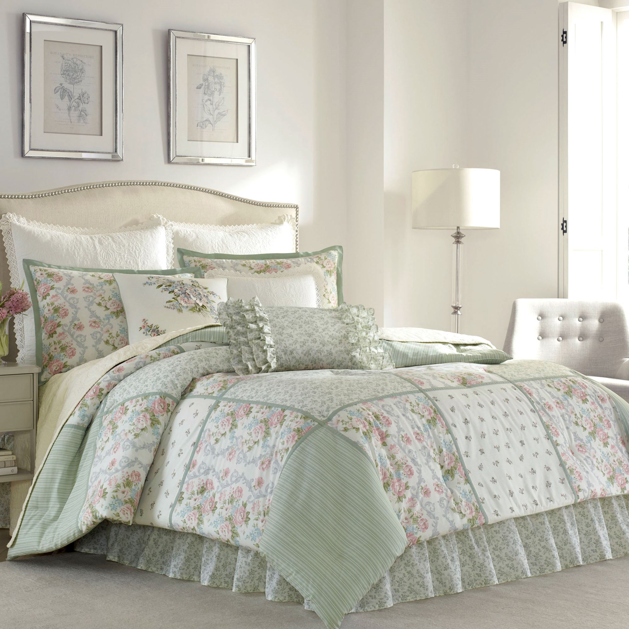 Harper Celadon Floral Block Comforter Bedding By Laura Ashley