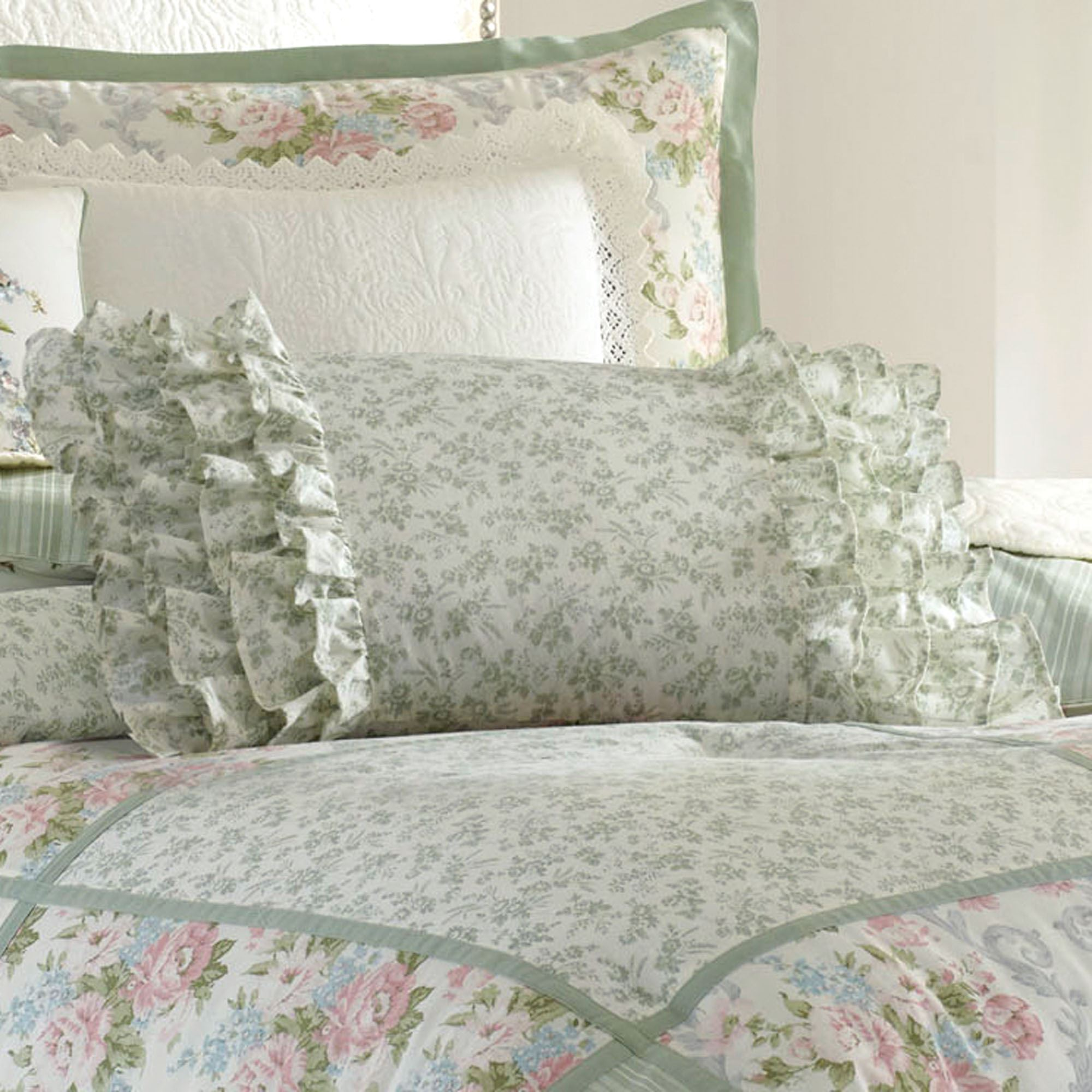 Harper Ruffled Pillow Celadon Rectangle
