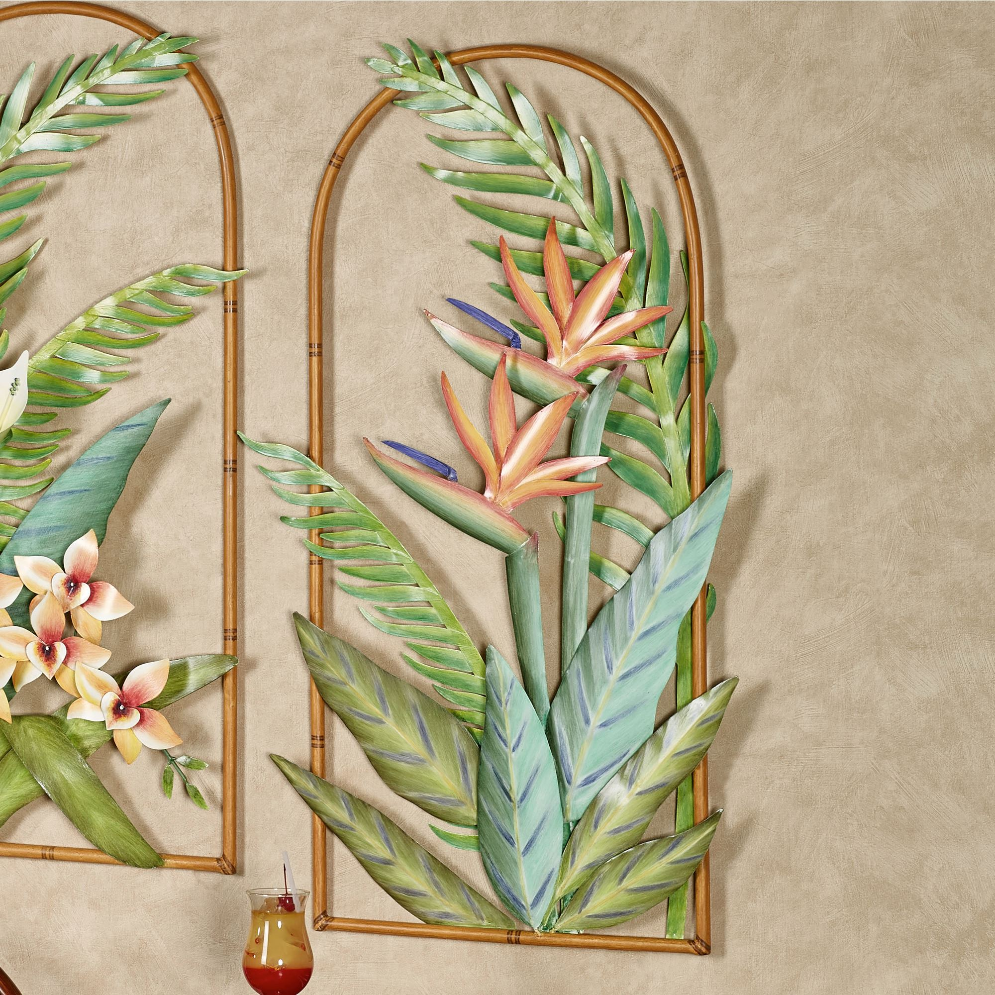Tropical Metal Wall Art Enchanting Tropical Florals Indoor Outdoor Arched Metal Wall Art Inspiration
