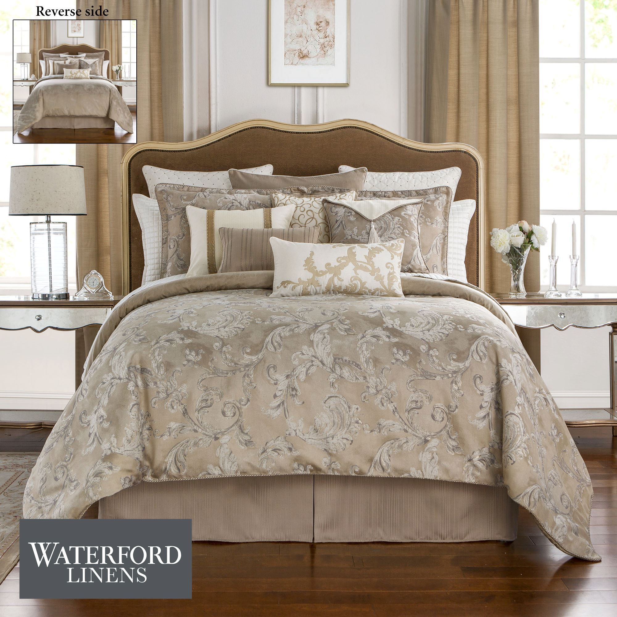 by damask montaigne acanthus linens bedding set charcoal waterford linen pin comforter