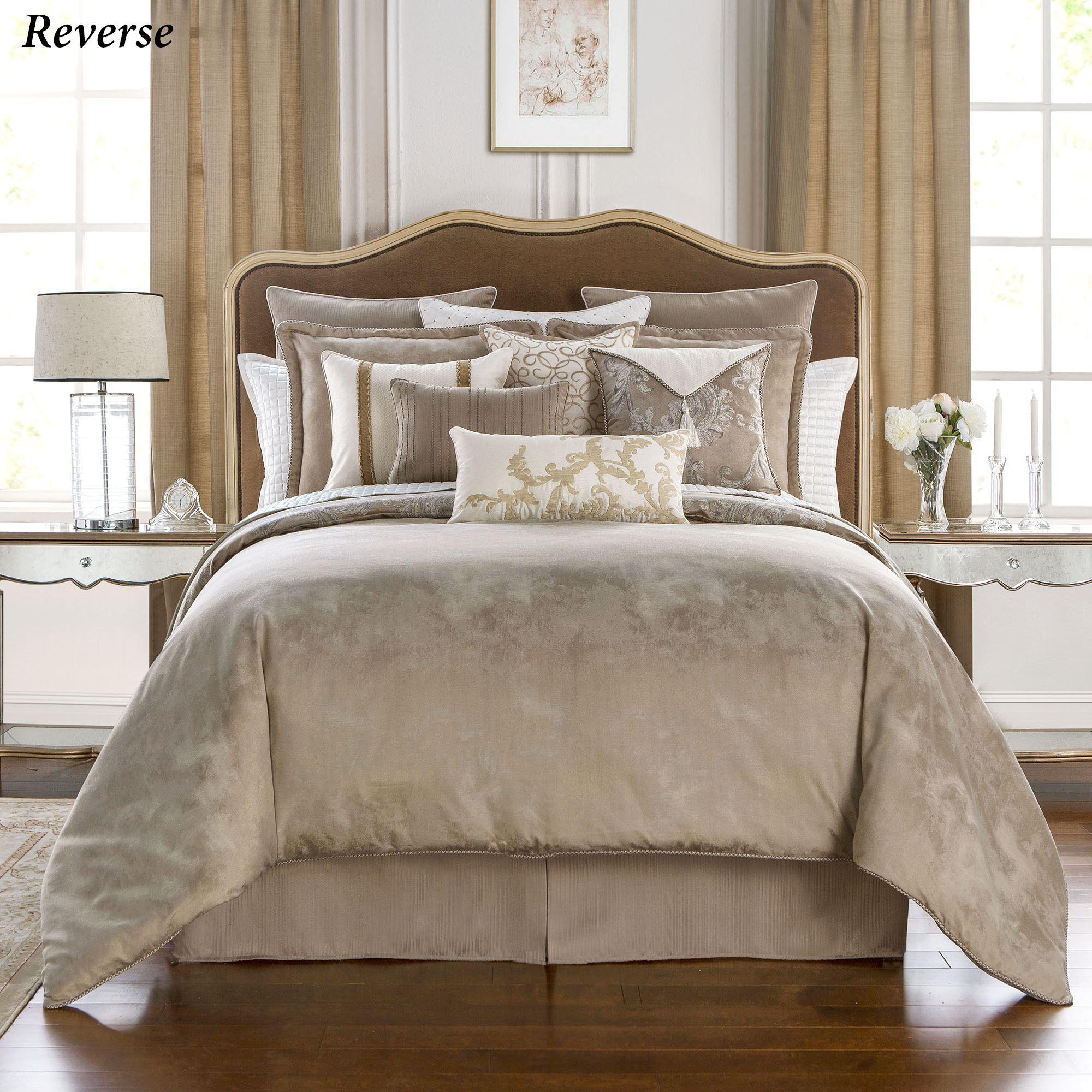Chantelle Acanthus Leaf Beige Comforter Bedding By