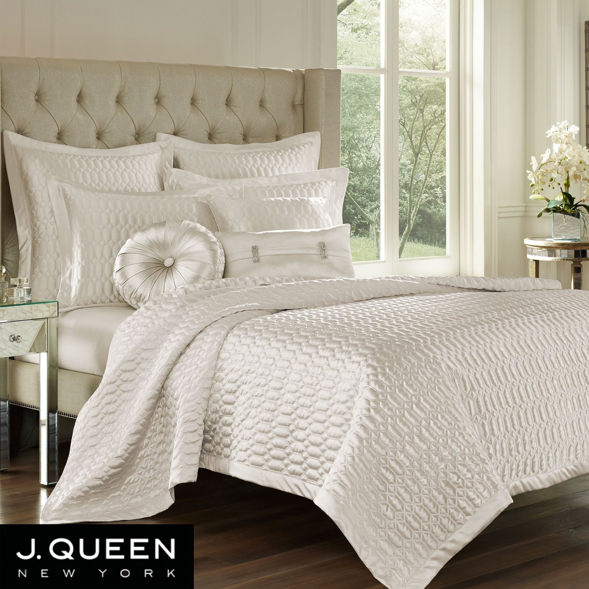 Satinique Poly Satin Quilted Coverlet By J Queen New York