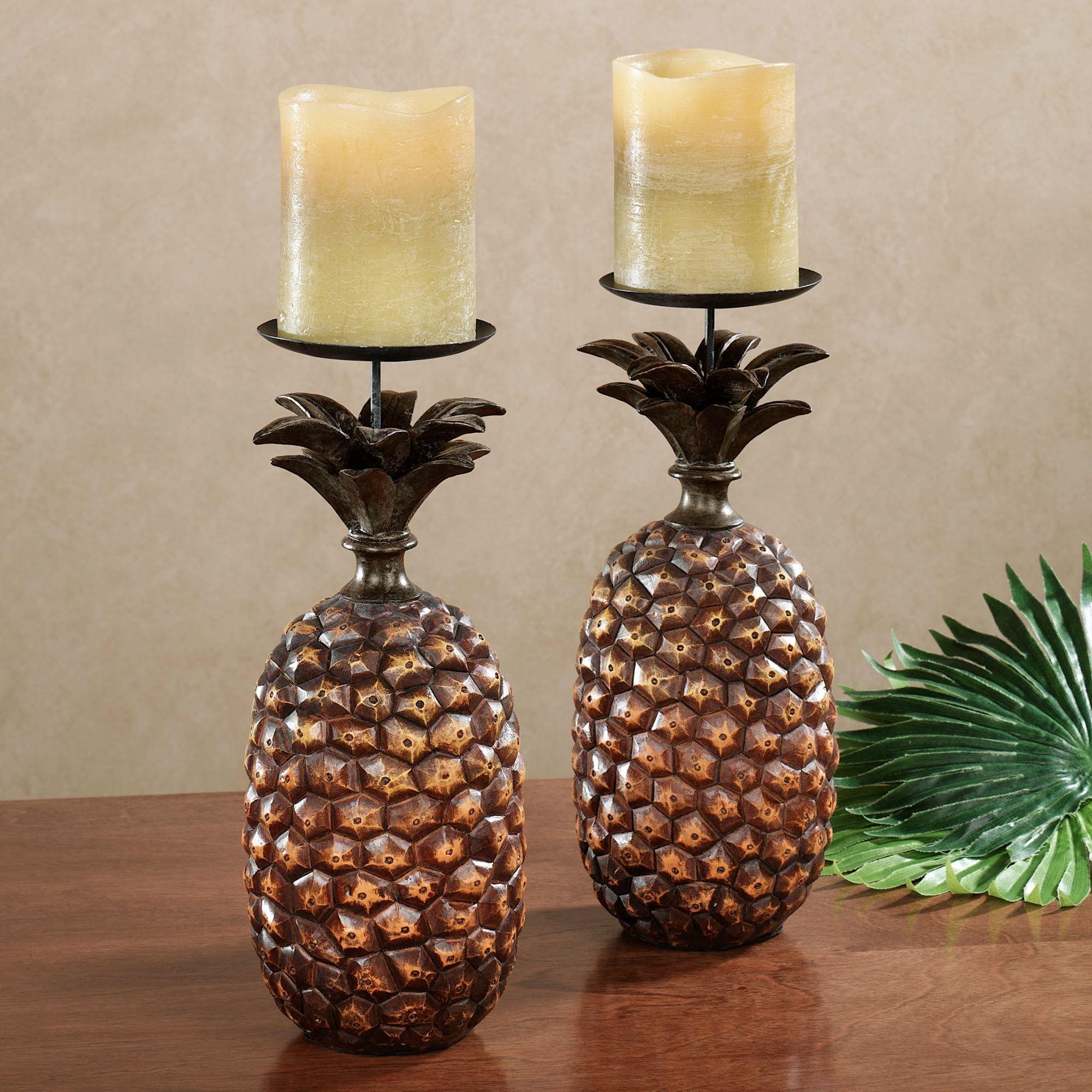 Pineapple candleholder pair