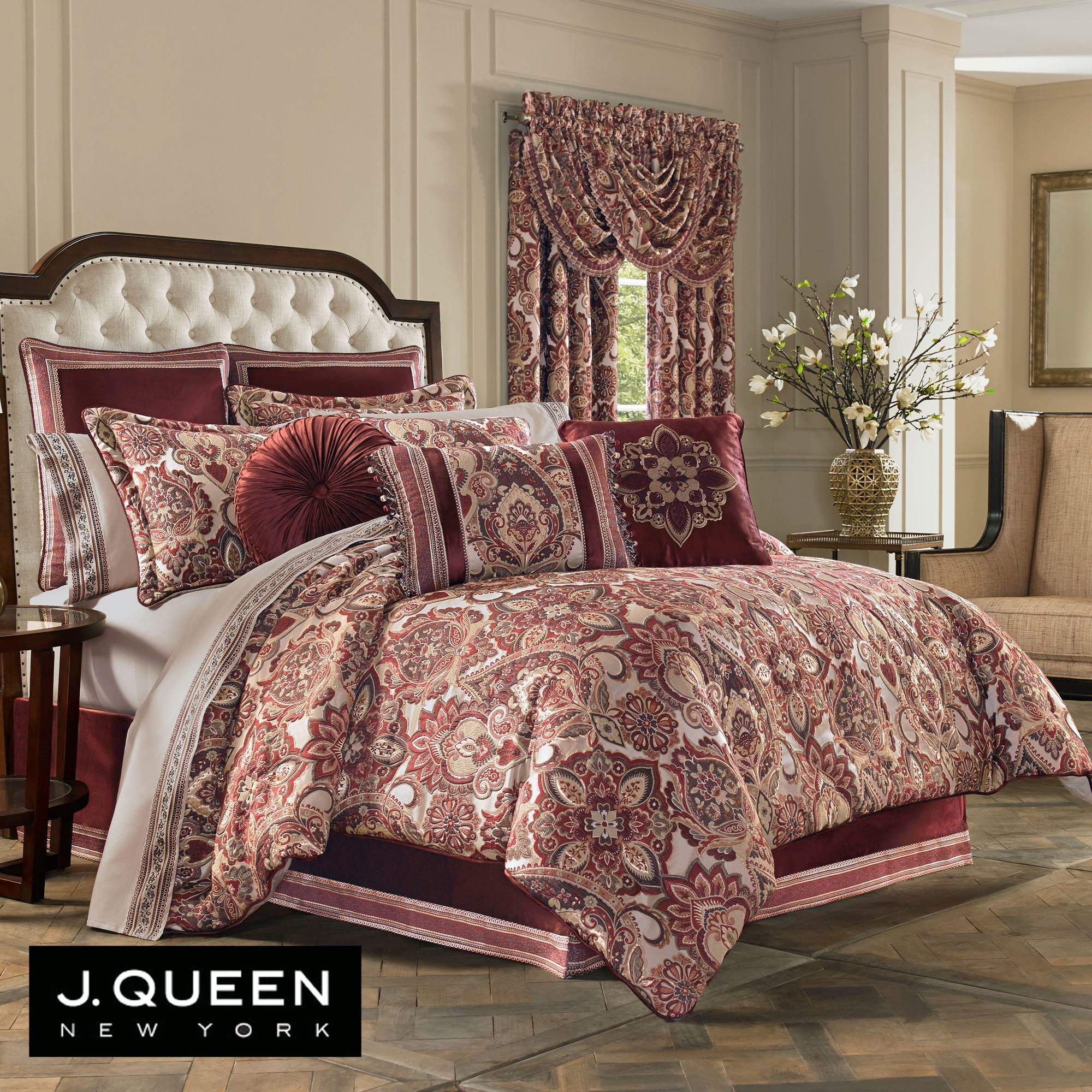 Rosewood Damask Medallion Burgundy Comforter Bedding By J
