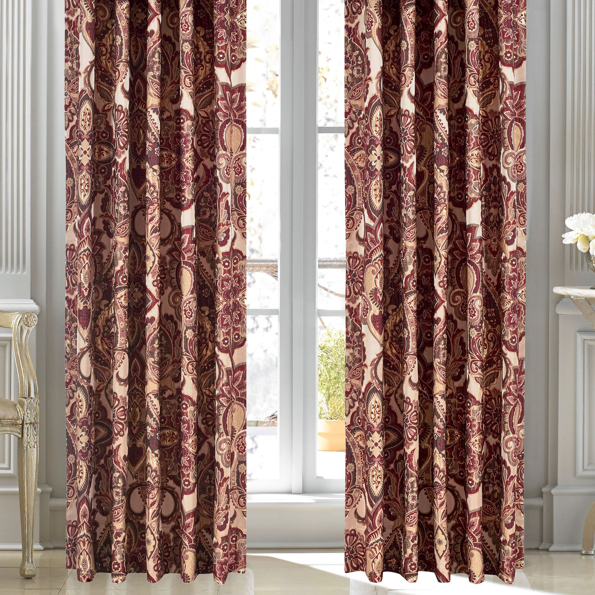 treatment by scroll tailored curtains x j new p curtain v silver queen babylon window pair york