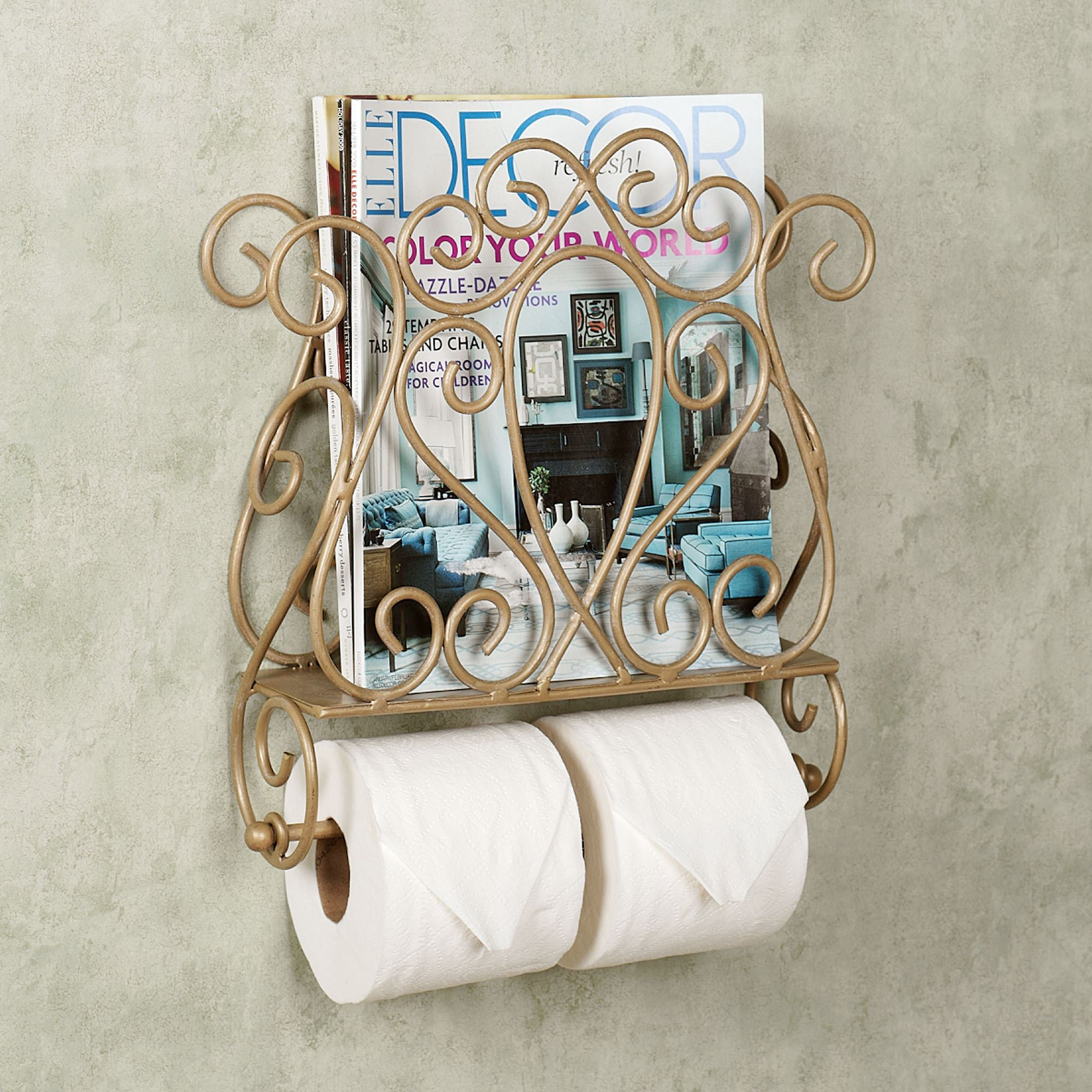 Gianna Magazine Rack And Toiler Paper Holder Venetian Gold Touch To Zoom