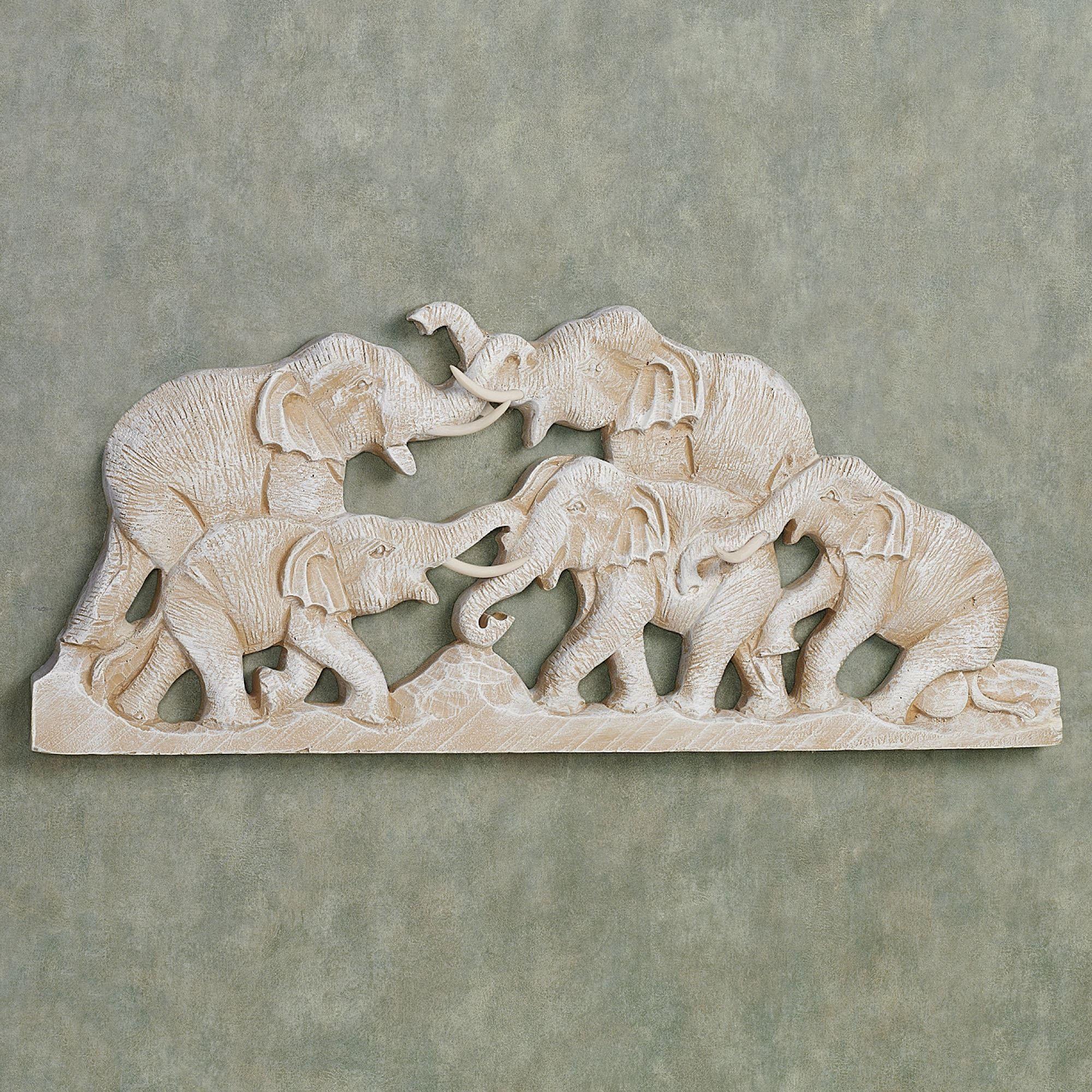 Elephant Family Wall Plaque Art