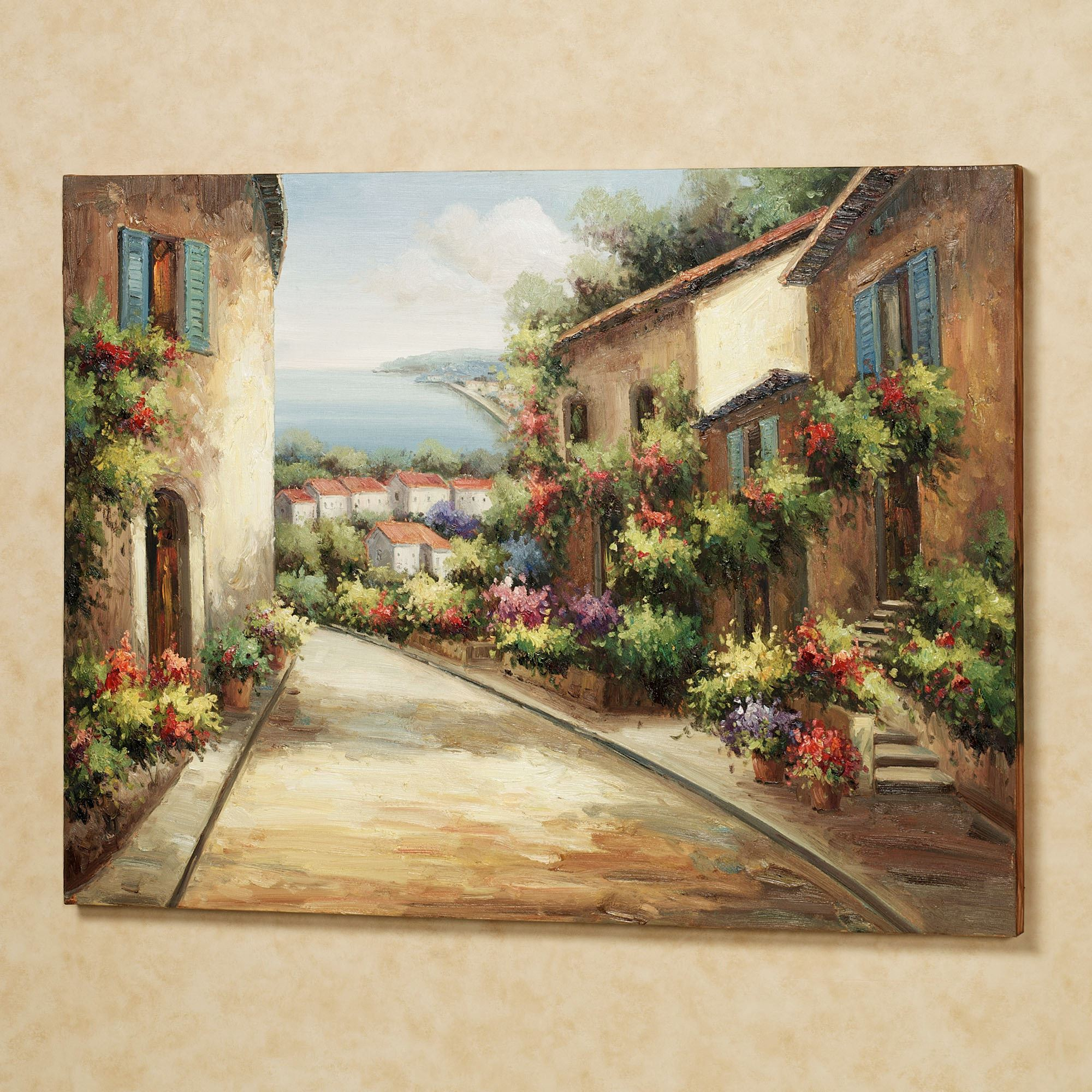 Italian Outdoor Wall Decor : Streets of tuscany canvas wall art
