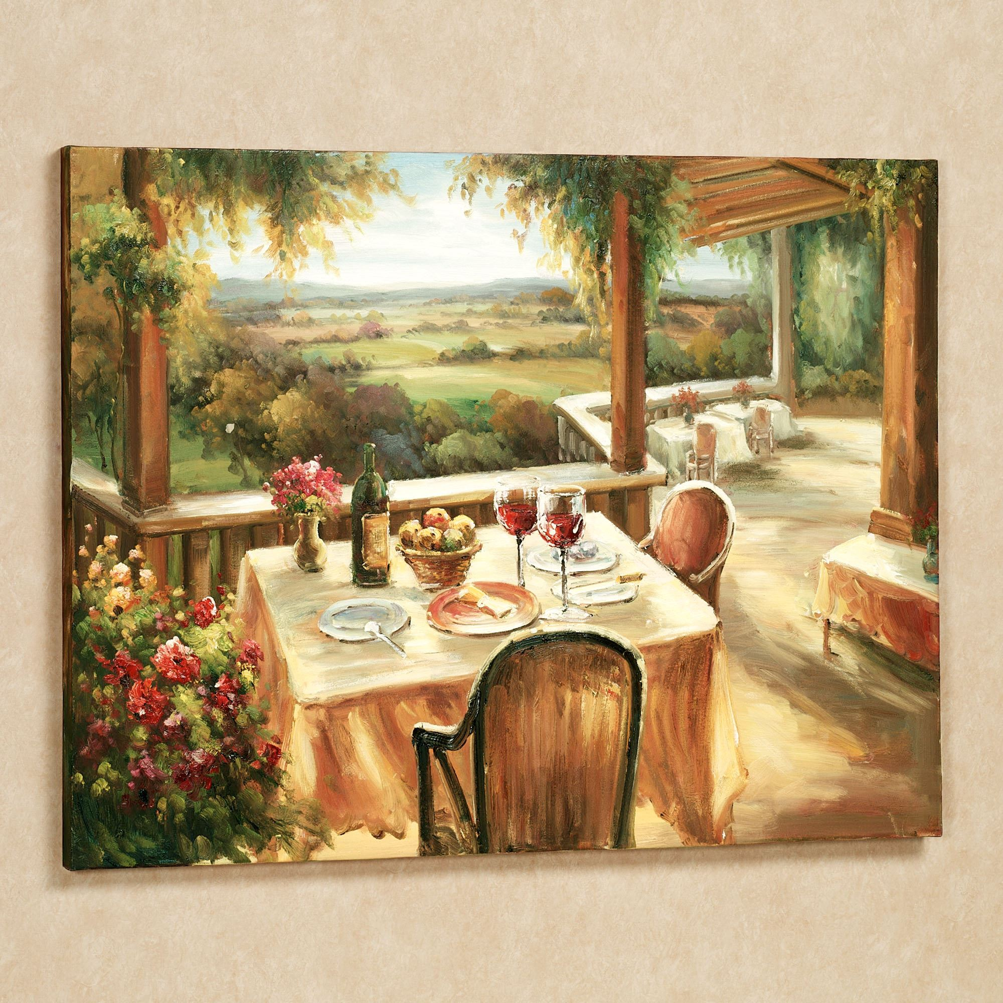 Wine and dine canvas wall art for Small kitchen wall art
