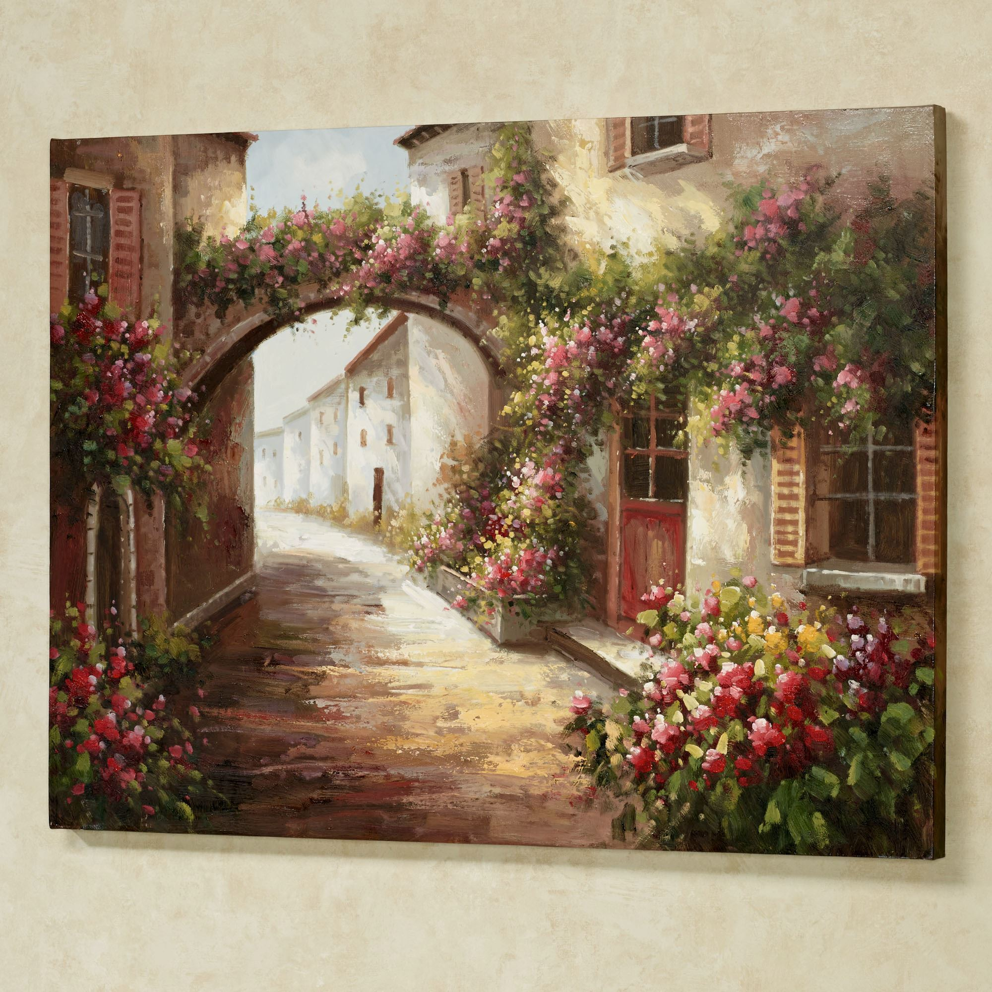 Tuscan Home Decor: Flowered Arch Tuscan Scene Canvas Wall Art